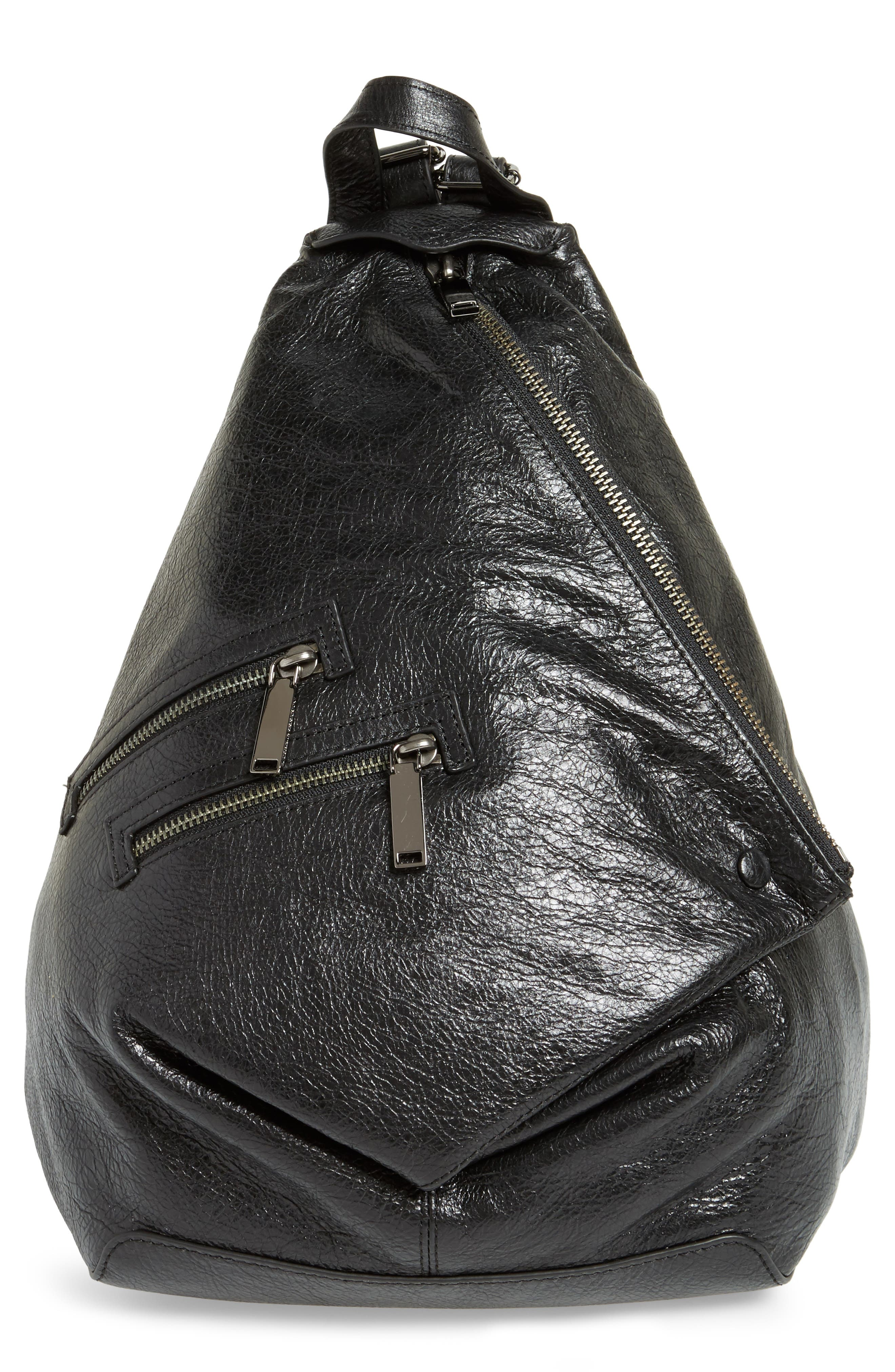 Jamie Leather Backpack,                         Main,                         color, Black