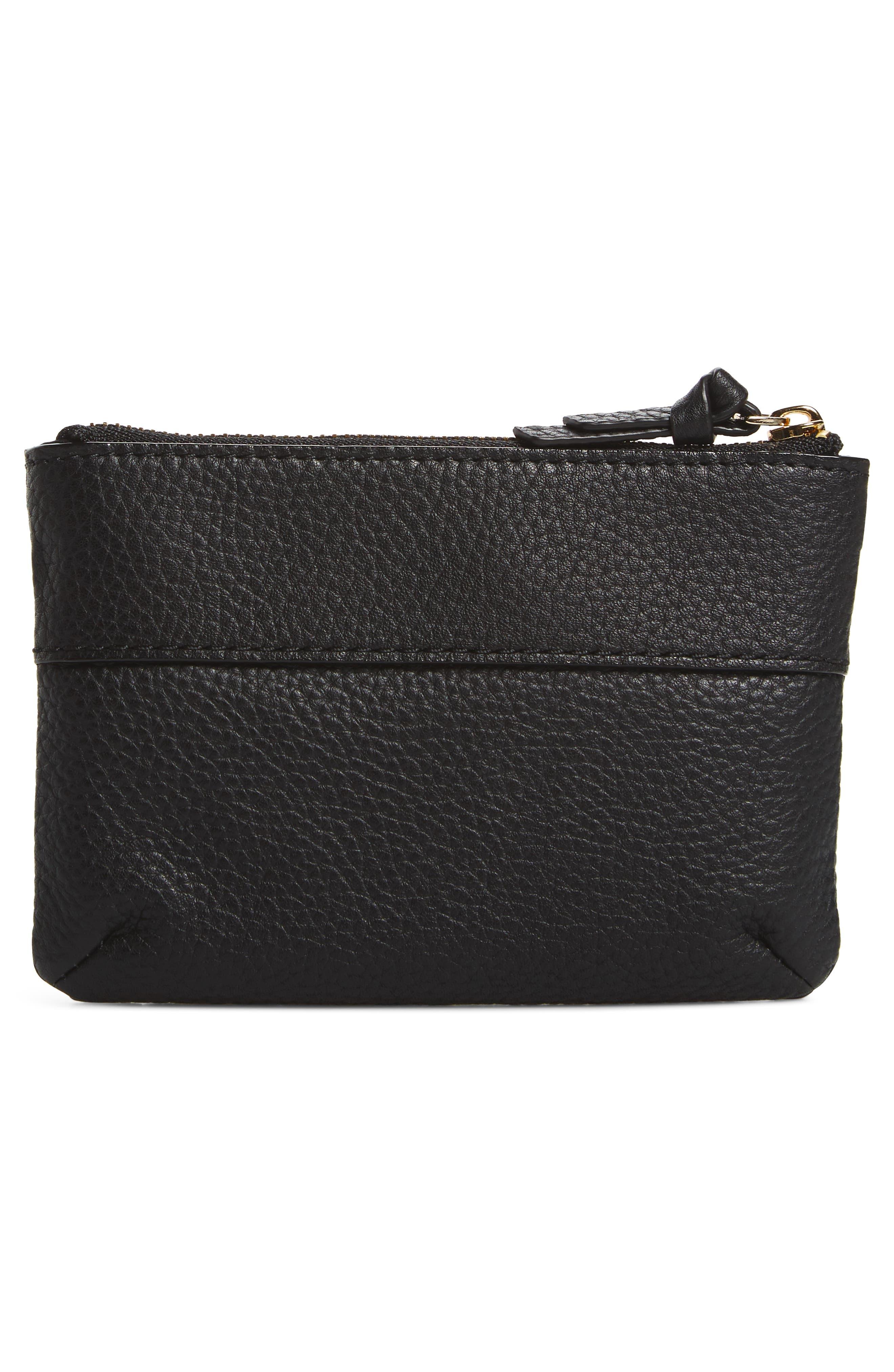 jackson street mila leather zip pouch,                             Alternate thumbnail 4, color,                             Black