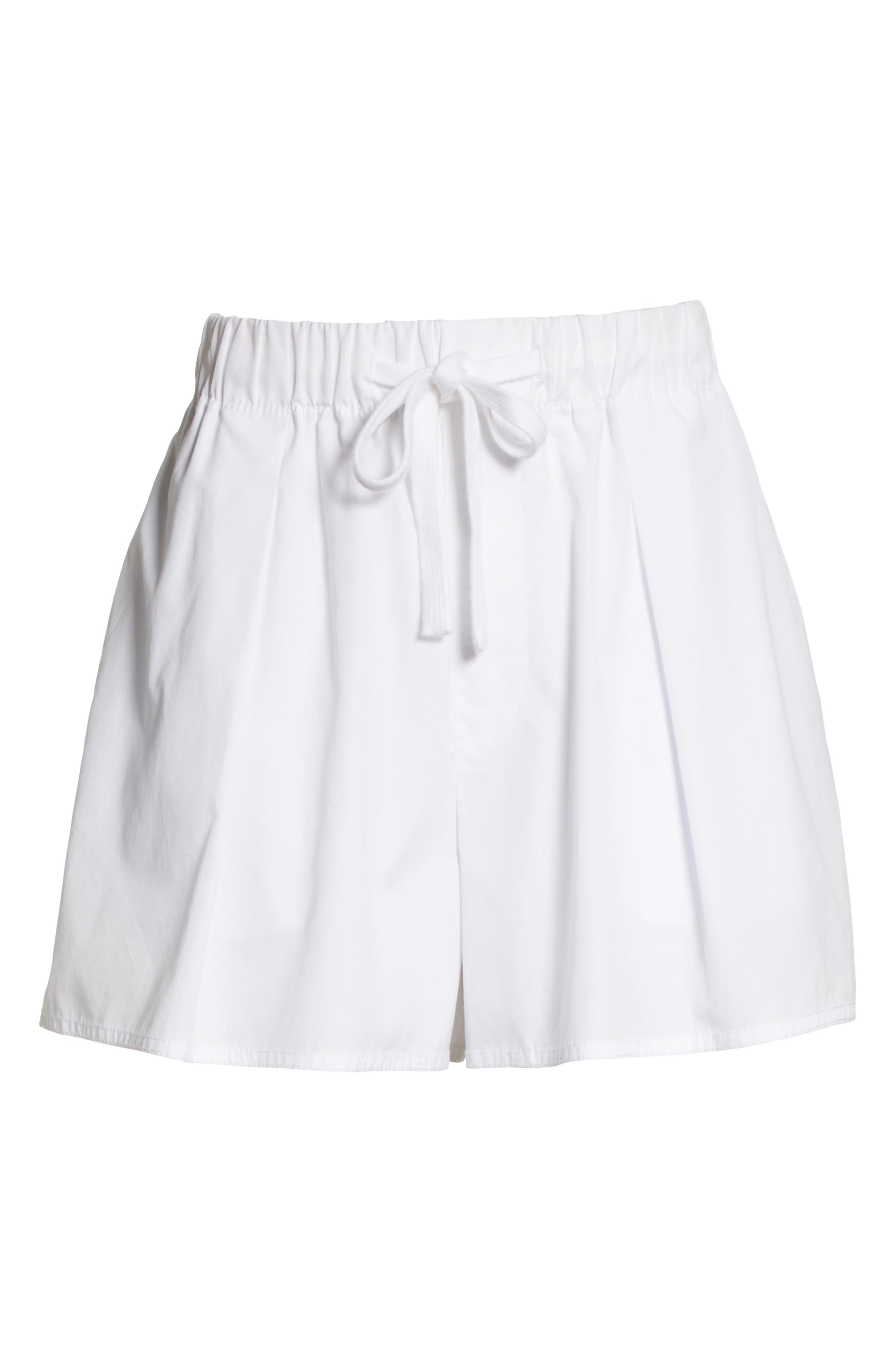 Drawstring Cotton Shorts,                             Alternate thumbnail 6, color,                             White