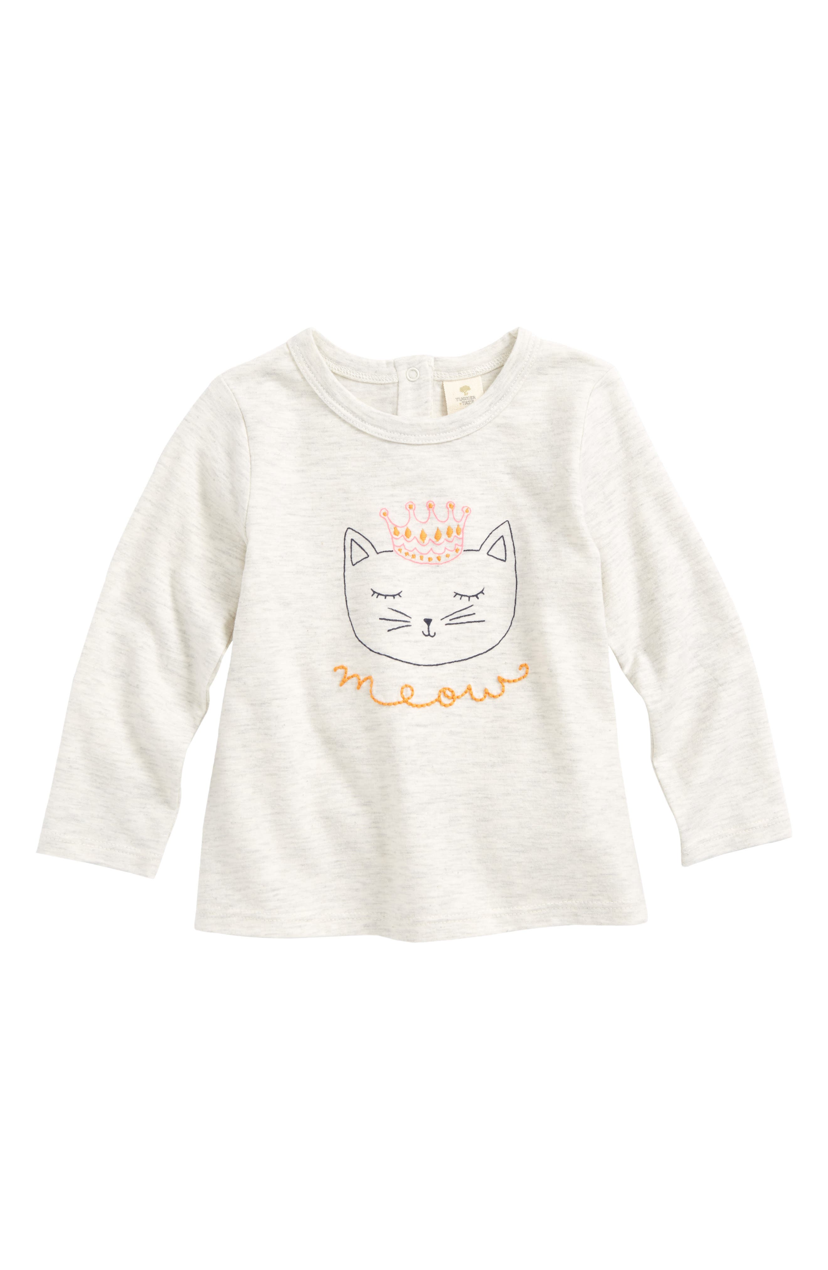Embroidered Graphic Tee,                             Main thumbnail 1, color,                             Ivory Egret Heather Crown Cat