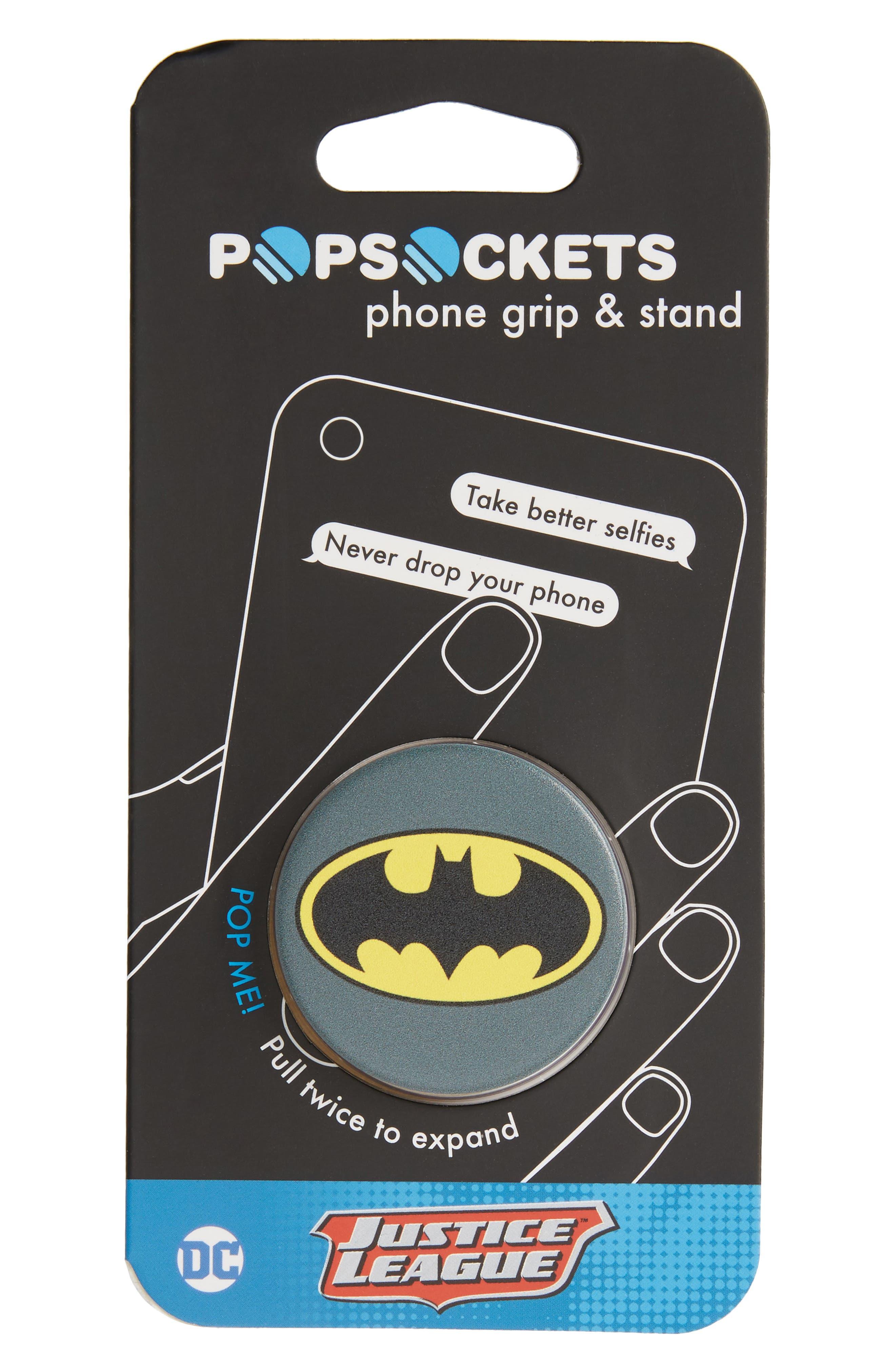DC Batman Cell Phone Grip & Stand,                             Main thumbnail 1, color,                             Dc Batman Icon
