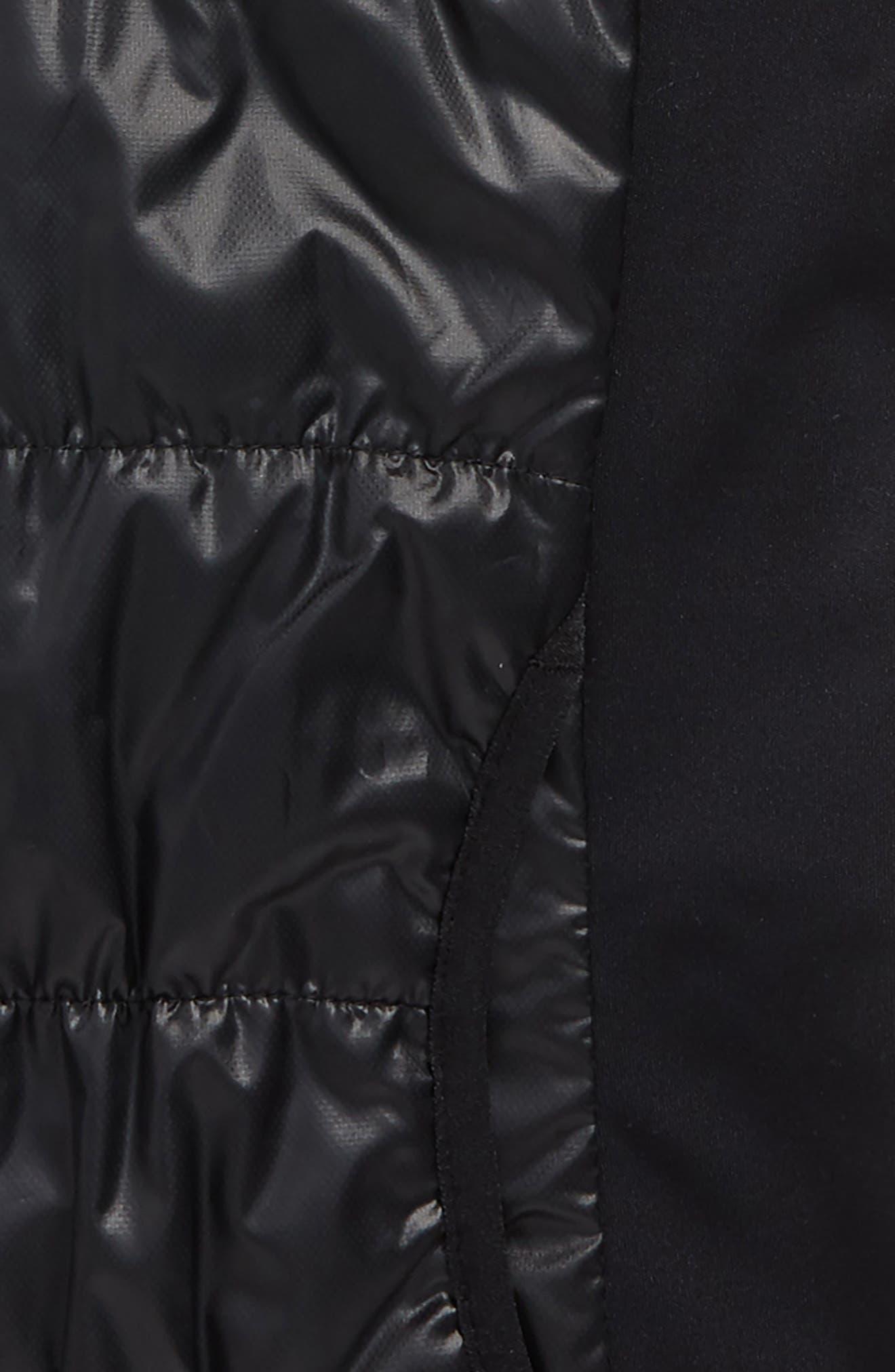 Zella Shine Quilted Hooded Vest,                             Alternate thumbnail 2, color,                             Black