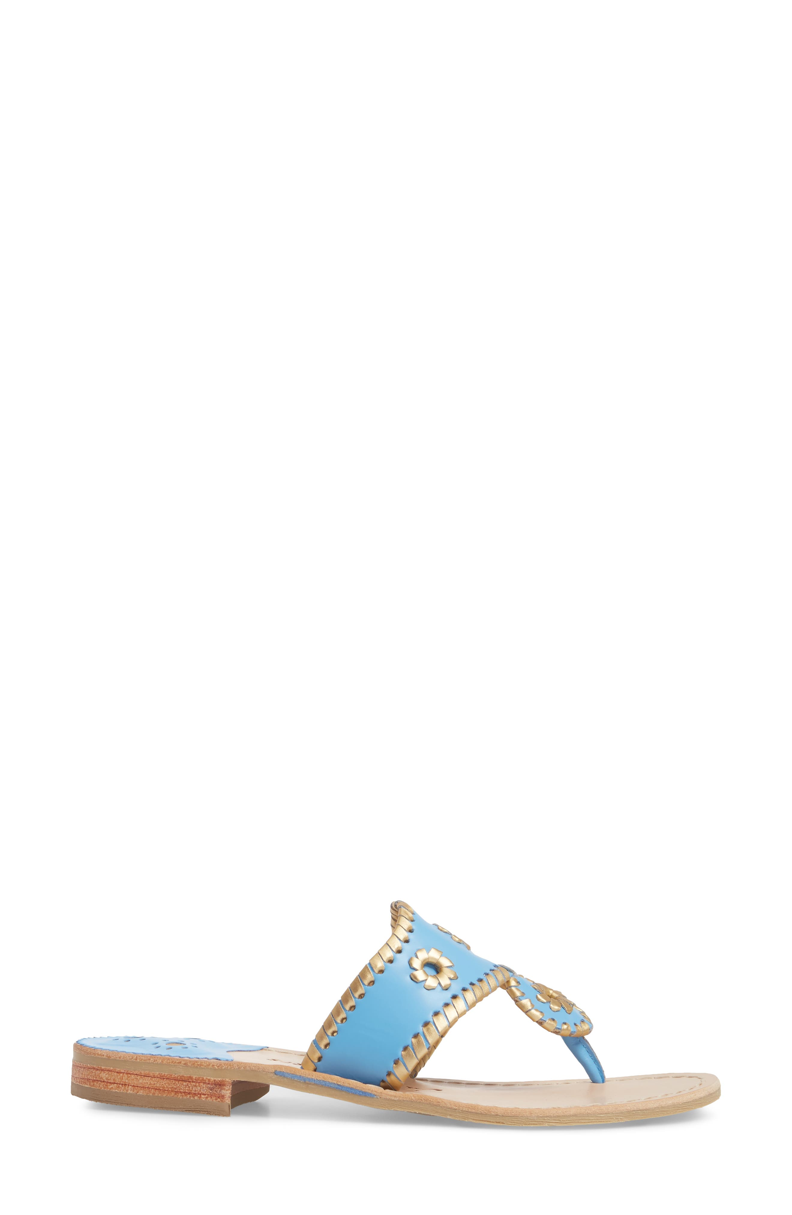 Hollis Flat Sandal,                             Alternate thumbnail 3, color,                             French Blue Leather