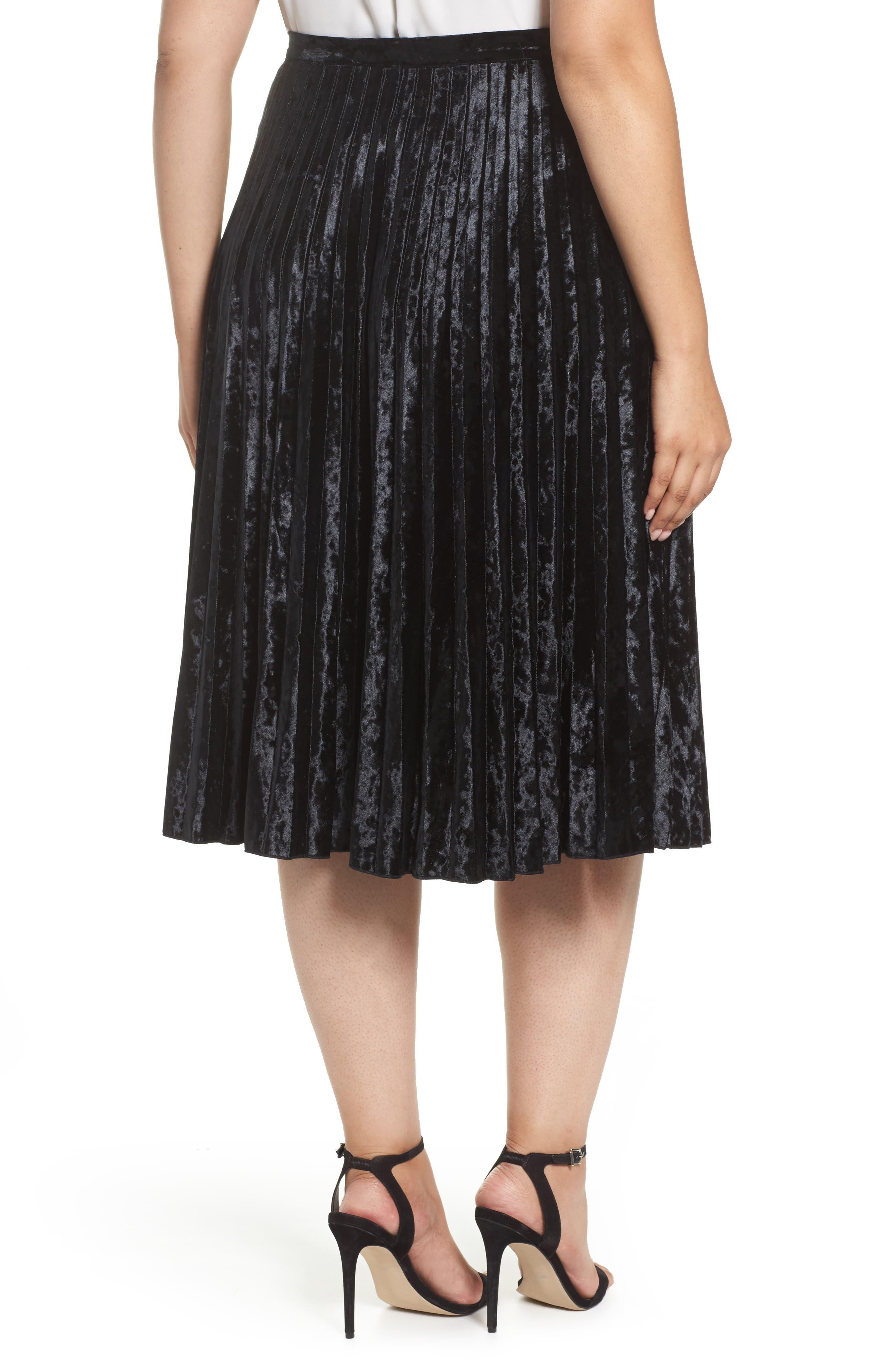 Velvet Pleat Skirt,                             Alternate thumbnail 3, color,                             Black Velvet