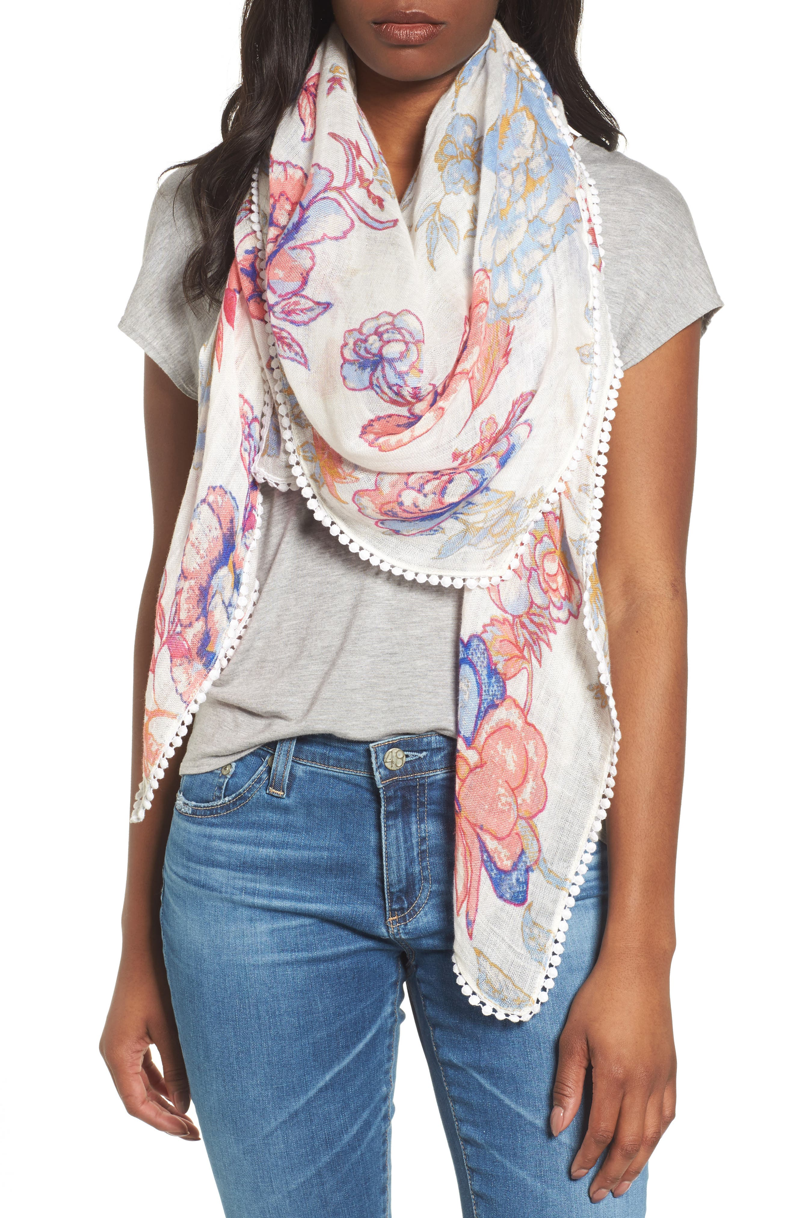 Print Scarf,                             Main thumbnail 1, color,                             White Lace Work