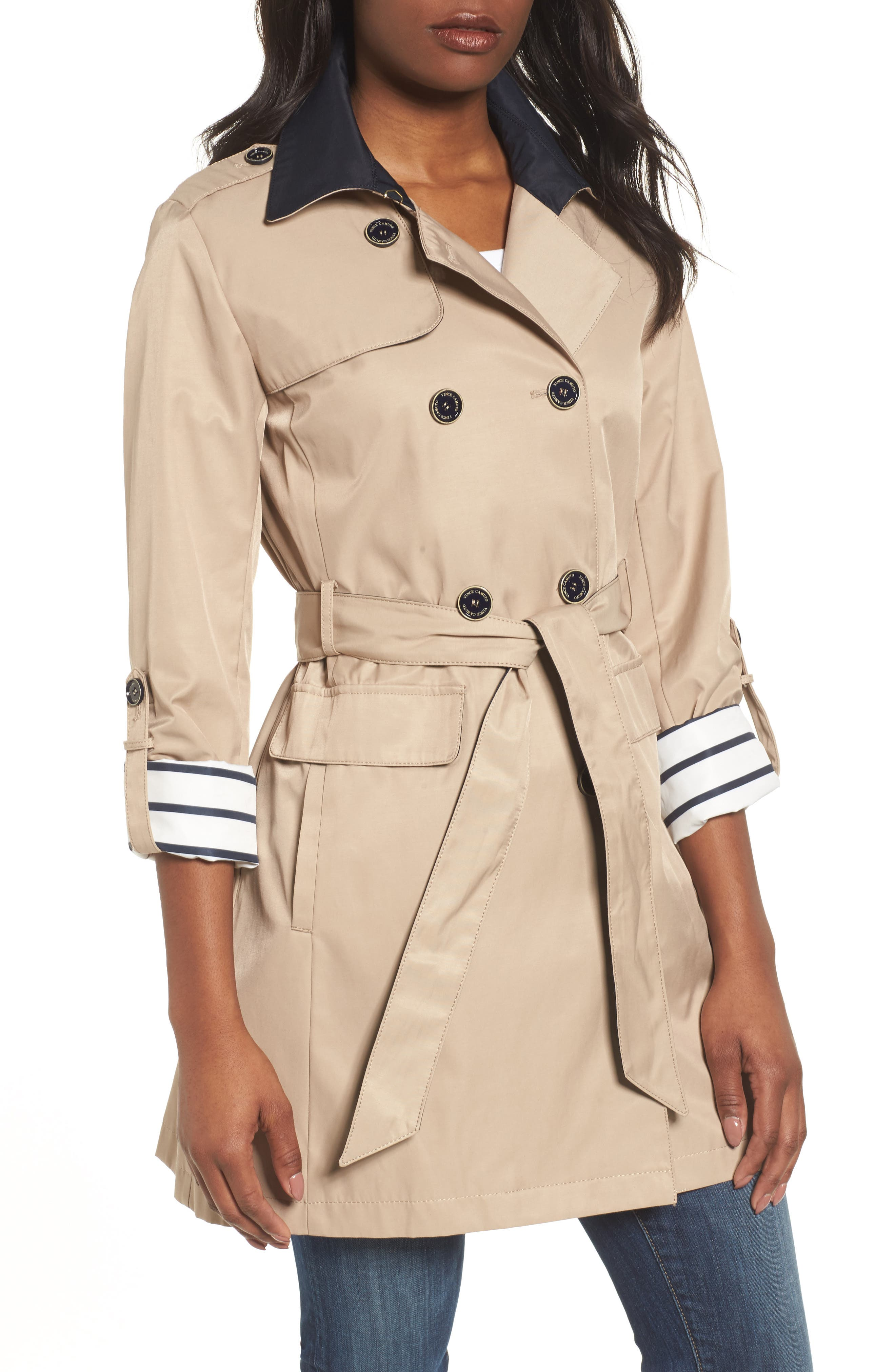 Contrast Collar Trench Coat,                         Main,                         color, Khaki