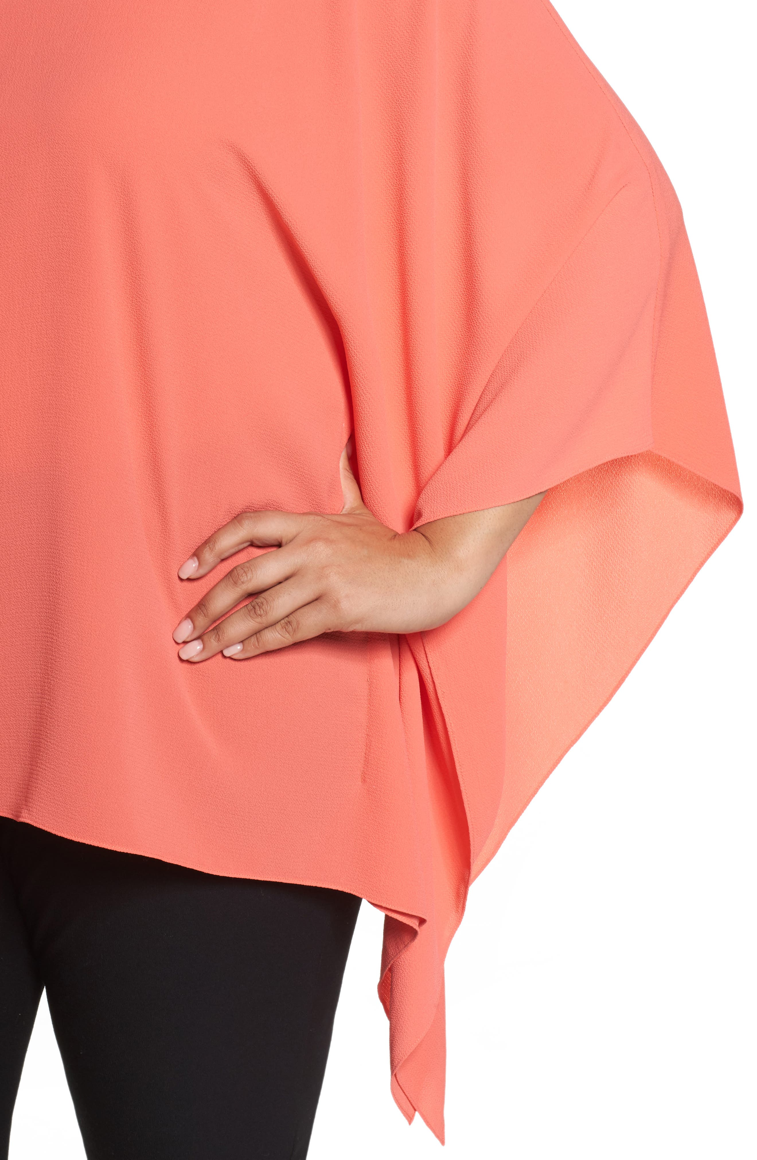 Button Down Collared Poncho Top,                             Alternate thumbnail 4, color,                             Melon