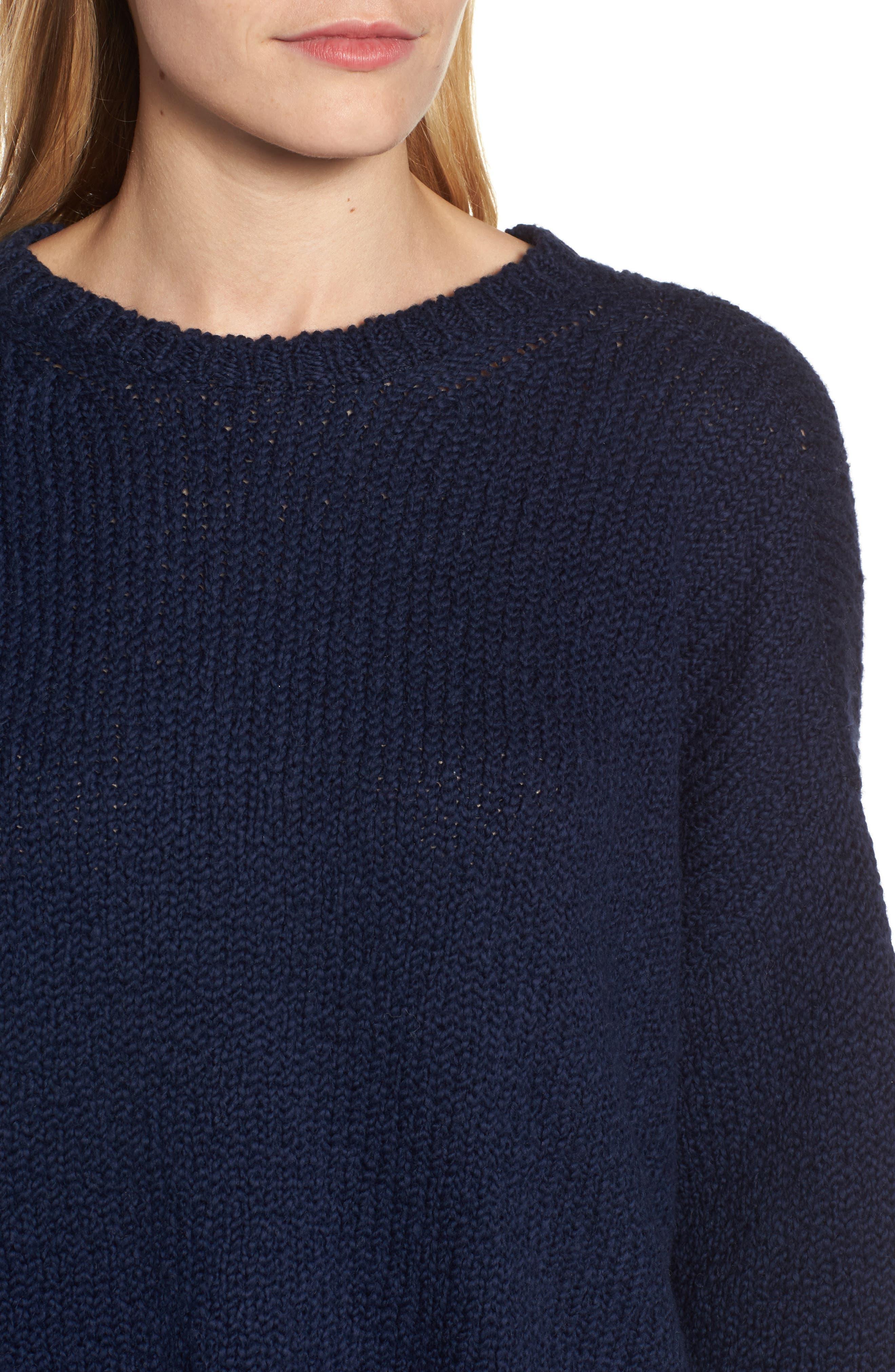 Organic Cotton Crewneck Sweater,                             Alternate thumbnail 4, color,                             Midnight