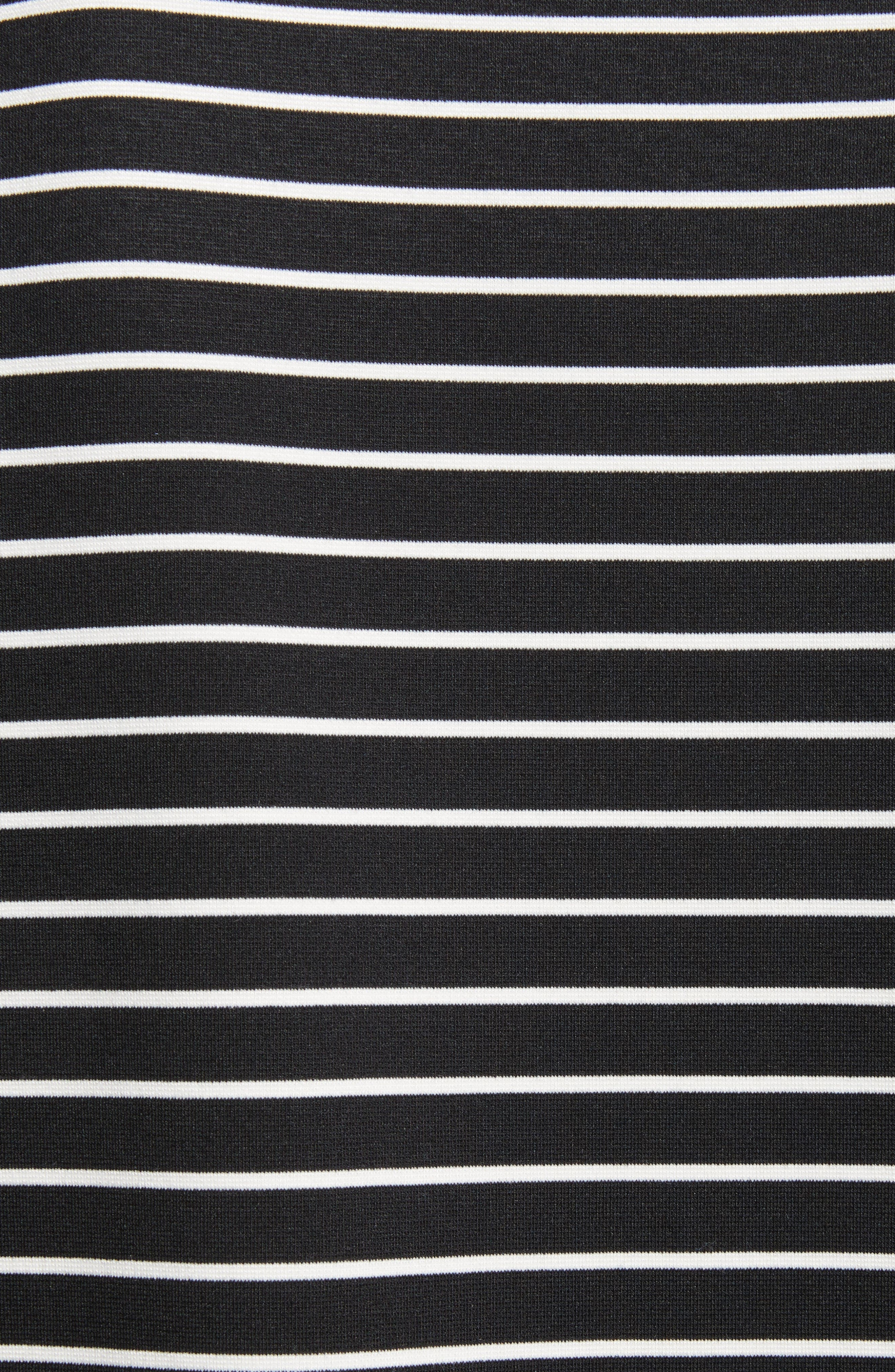 mock neck stripe knit dress,                             Alternate thumbnail 5, color,                             Black/ Off-White