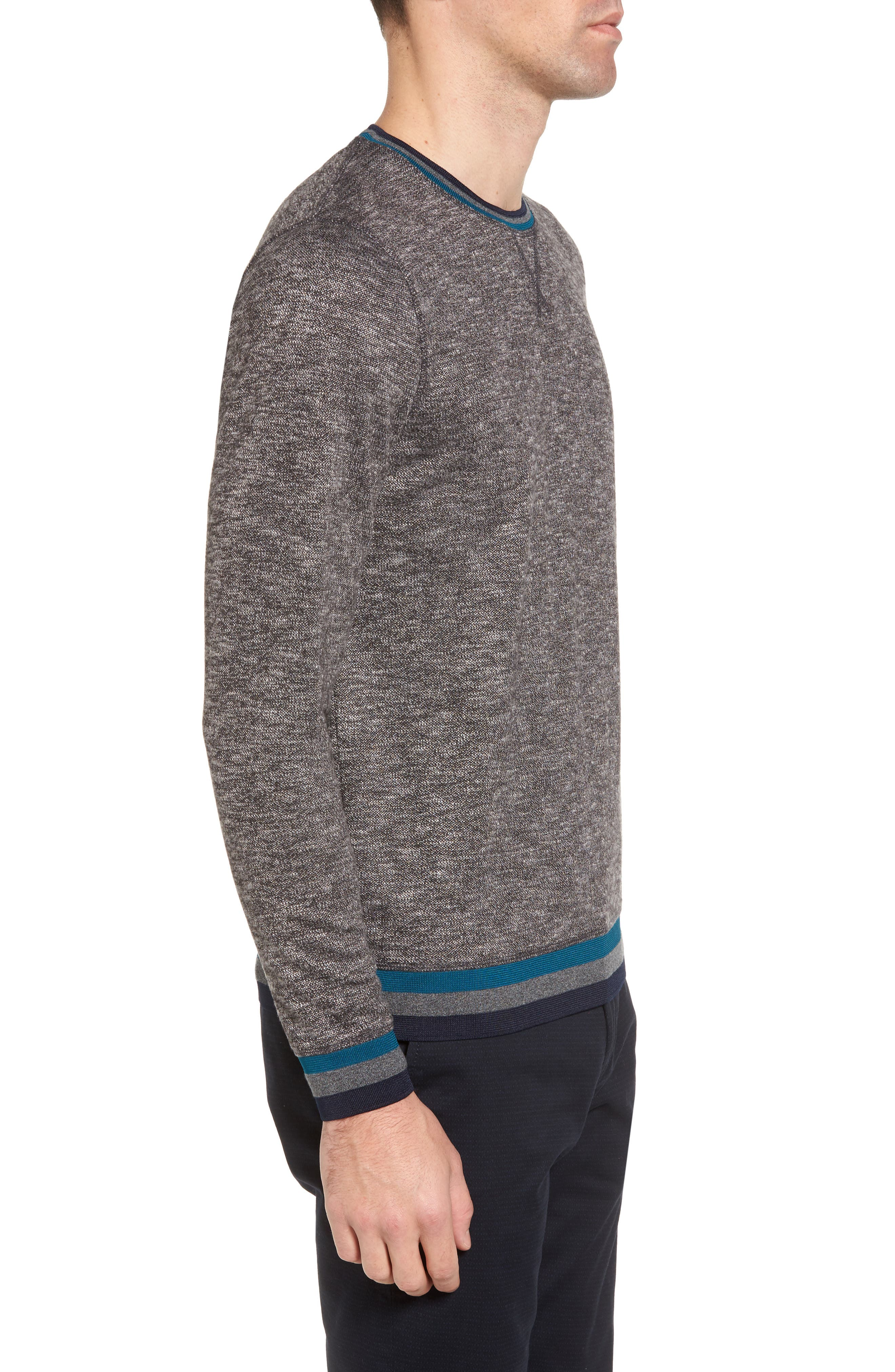 Slater Trim Fit Slub Sweatshirt,                             Alternate thumbnail 3, color,                             Black