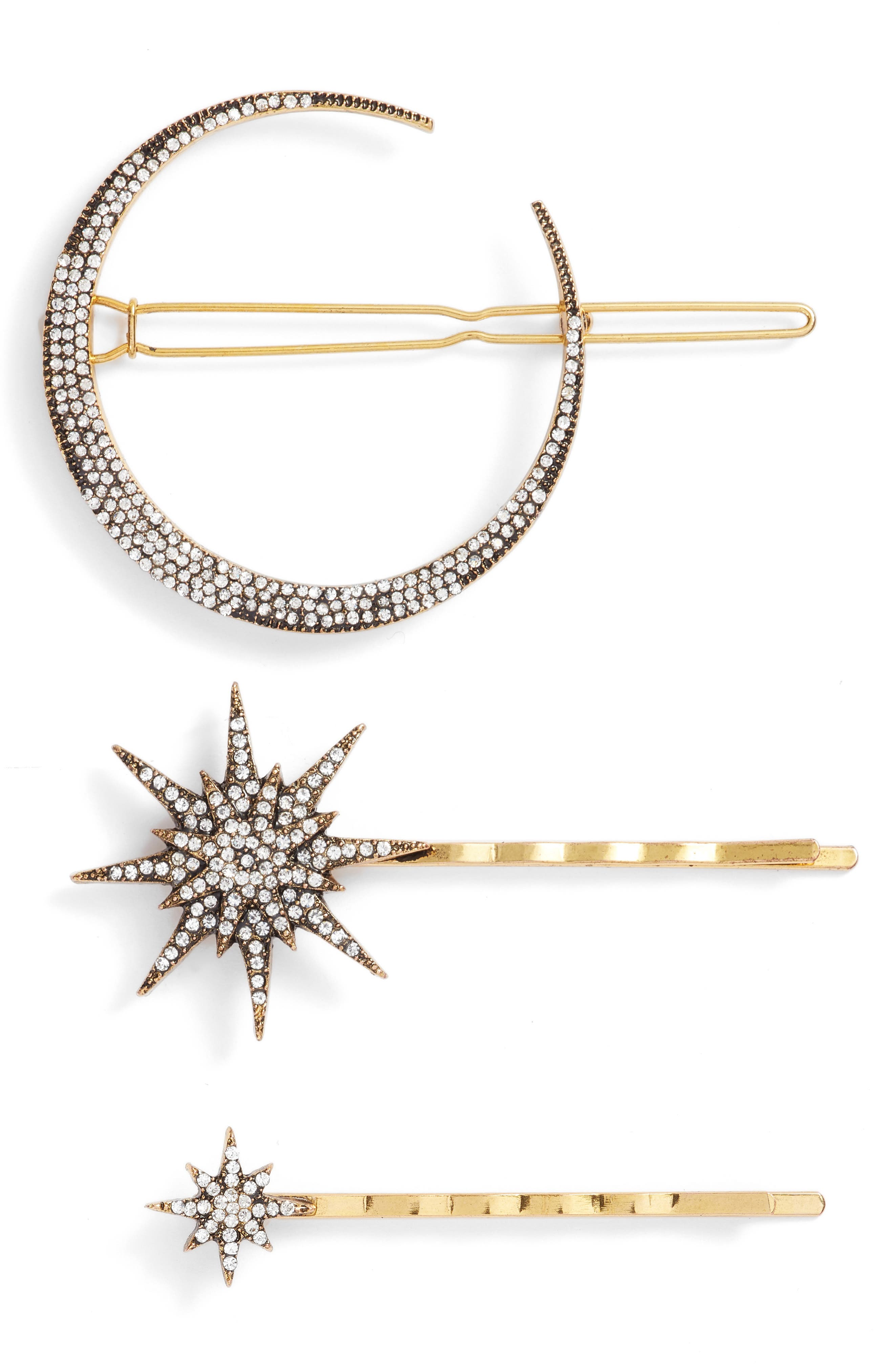 Celestial 3-Pack Crystal Hair Pin Set,                         Main,                         color, Antique Gold