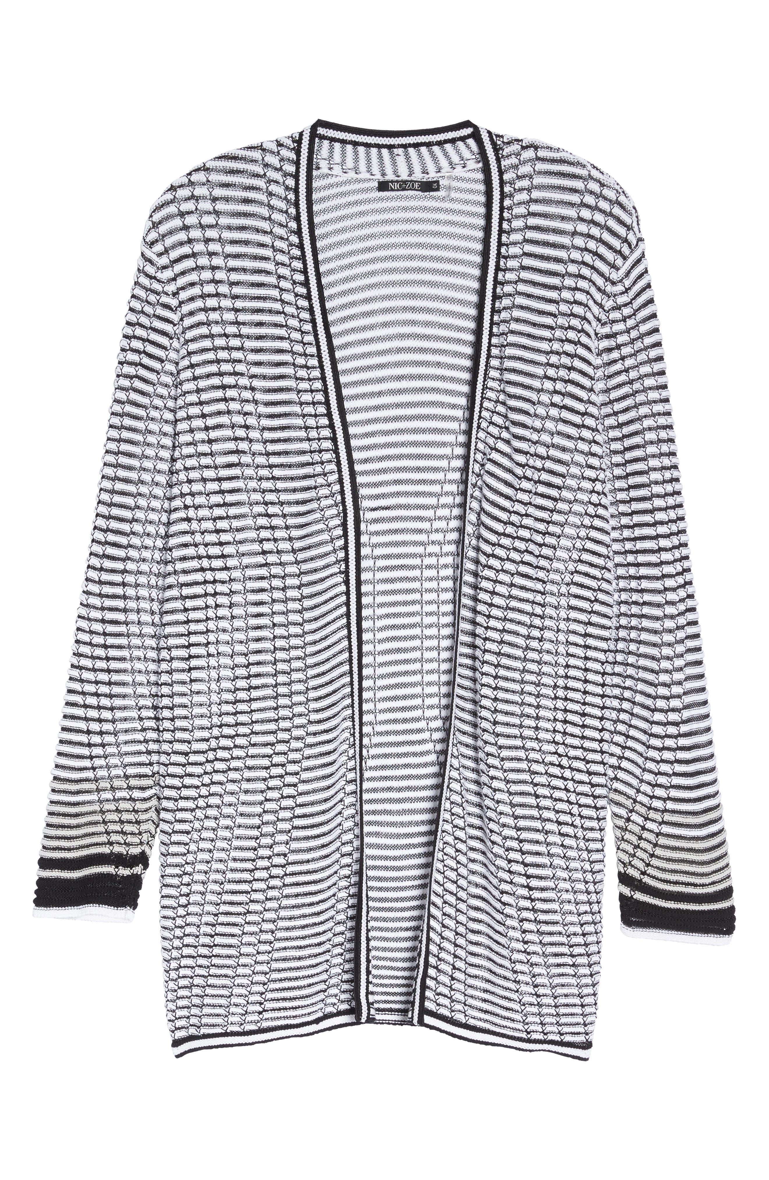 Alternate Image 6  - NIC+ZOE Striped Space Cardigan (Plus Size)