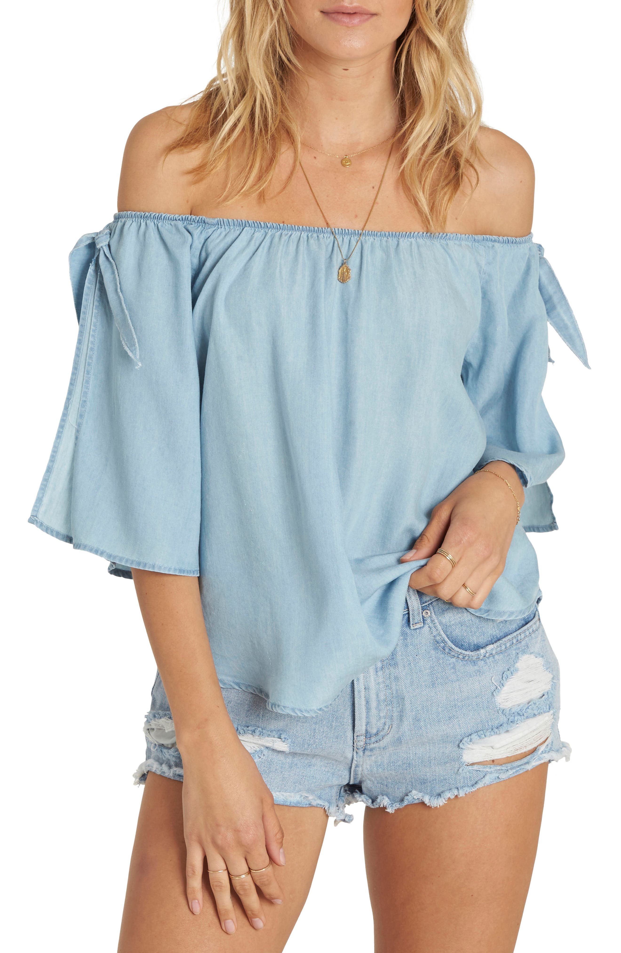 Blues Baby Chambray Off the Shoulder Top,                         Main,                         color, Chambray