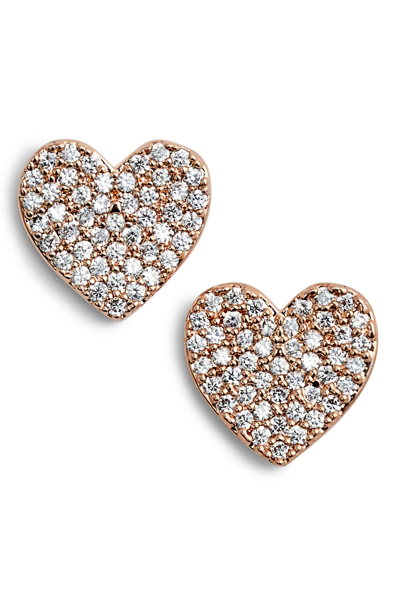 yours truly pave heart stud earrings,                         Main,                         color, Rose Gold