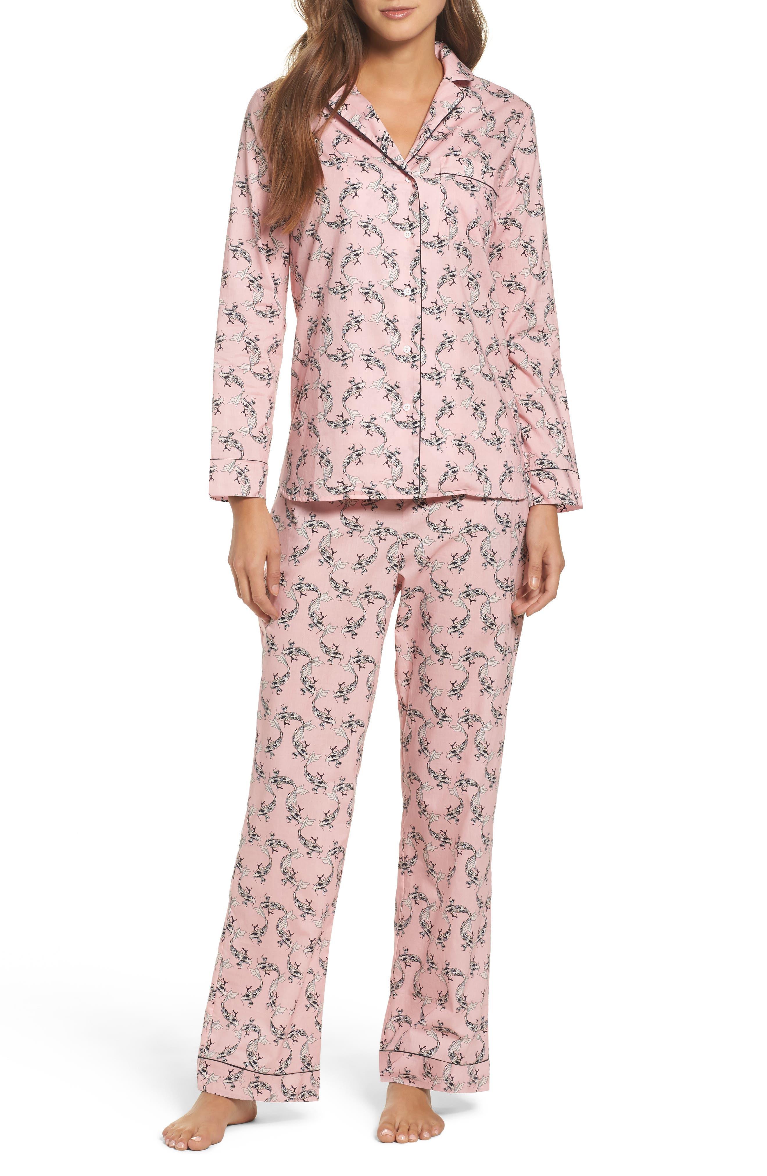 Classic Print Cotton Poplin Pajamas,                             Main thumbnail 1, color,                             Fortune Fish- Rose