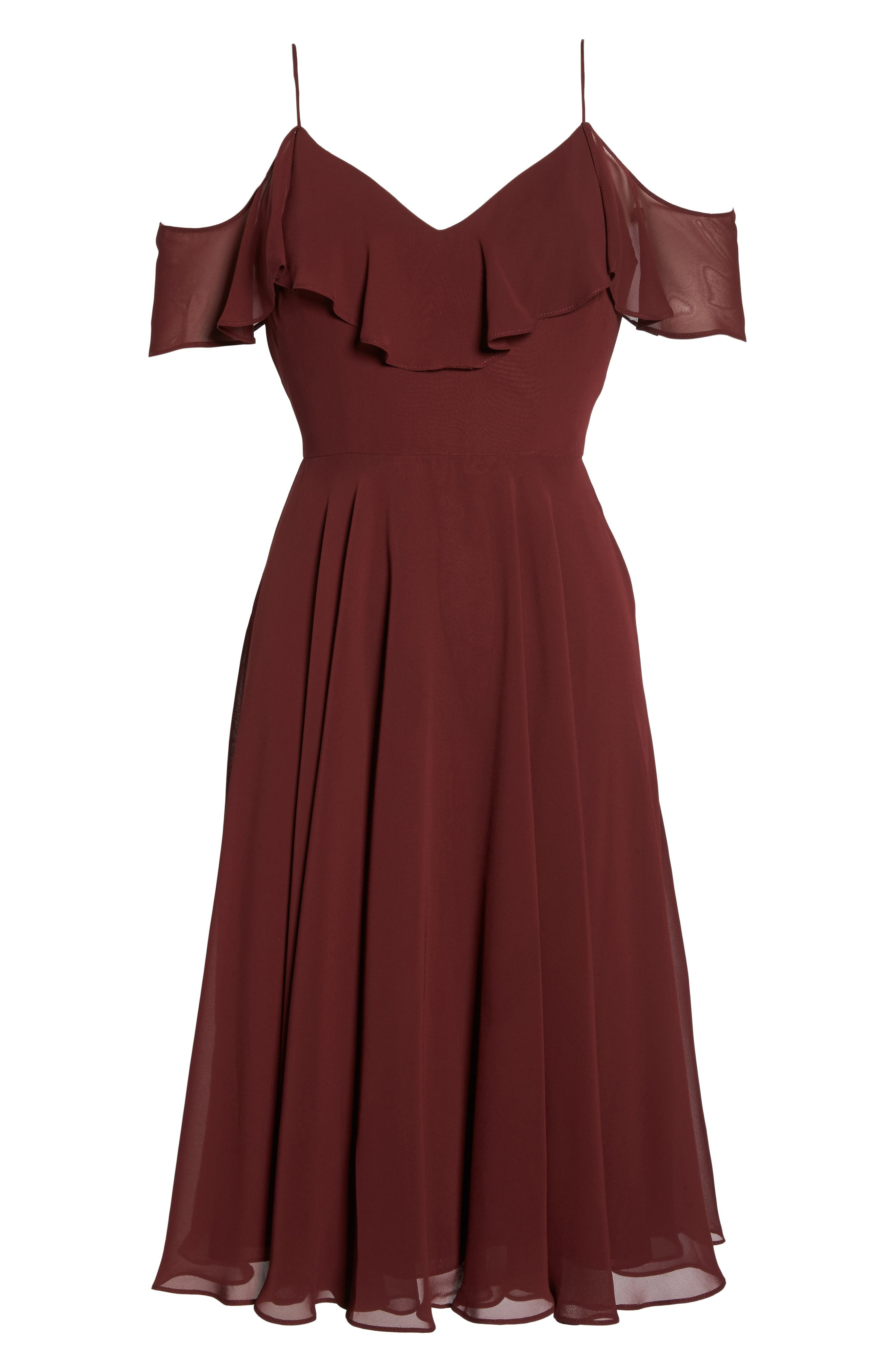 Kelli Cold Shoulder Chiffon Dress,                             Alternate thumbnail 6, color,                             Hibiscus
