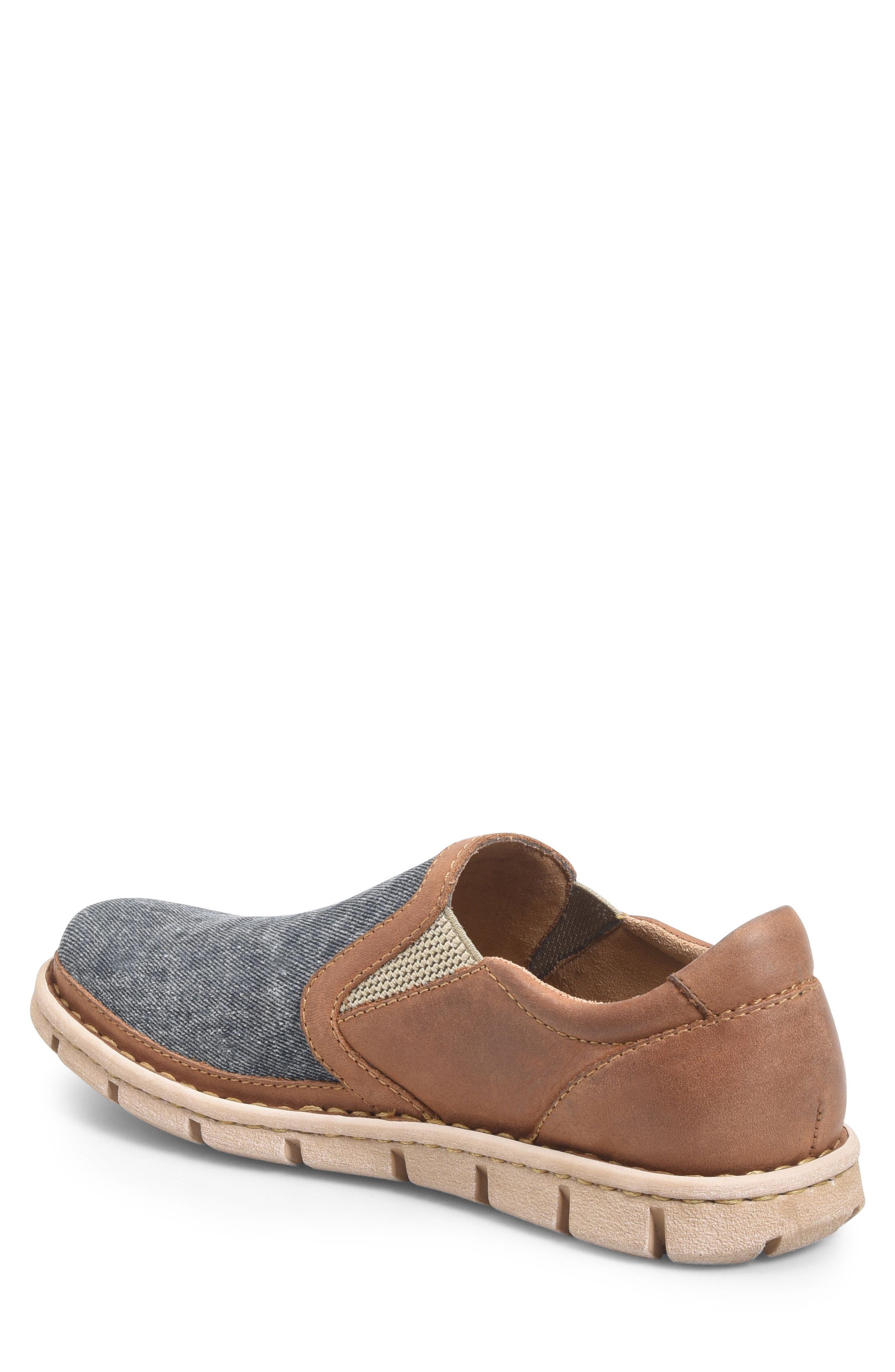 'Sawyer' Leather Slip-On,                             Alternate thumbnail 2, color,                             Navy/ Light Brown Canvas