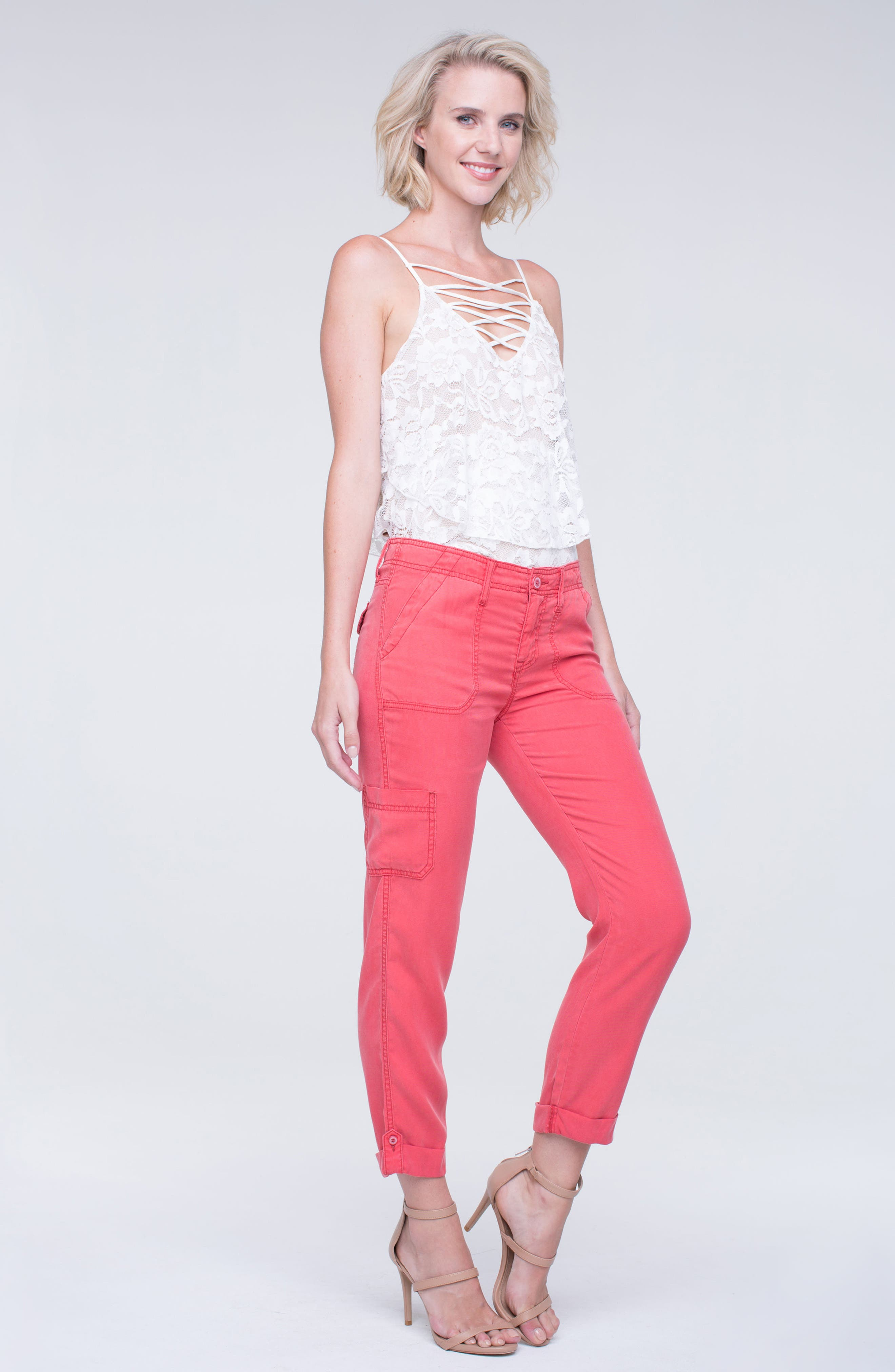 Alternate Image 2  - Liverpool Jeans Company Cargo Rolled Cuff Pants