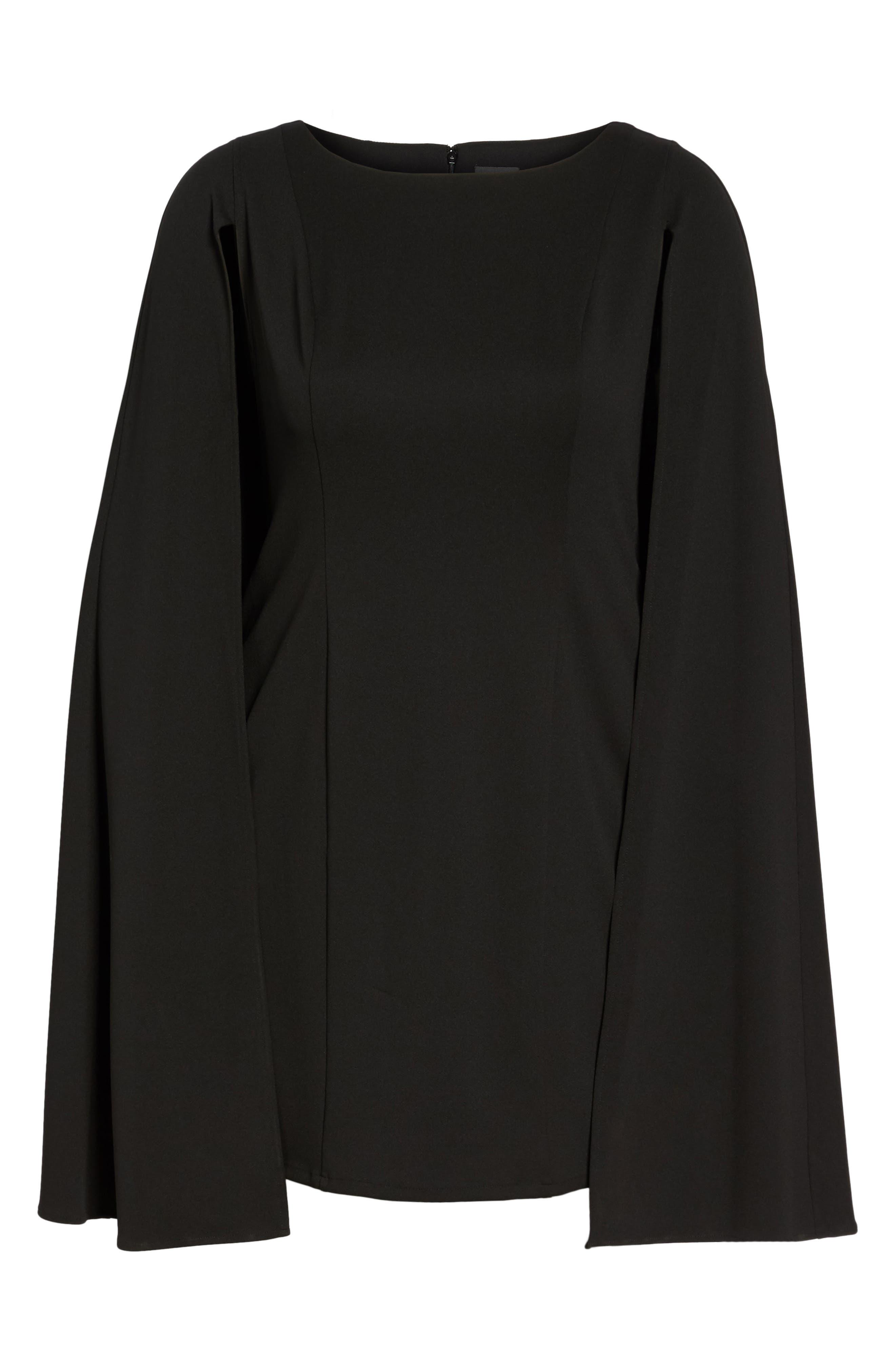 Cape Sheath Dress,                             Alternate thumbnail 6, color,                             Black
