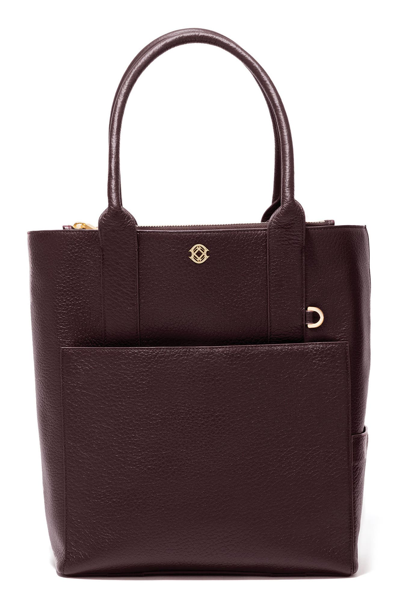 Charlie Leather Tote,                         Main,                         color, Oxblood