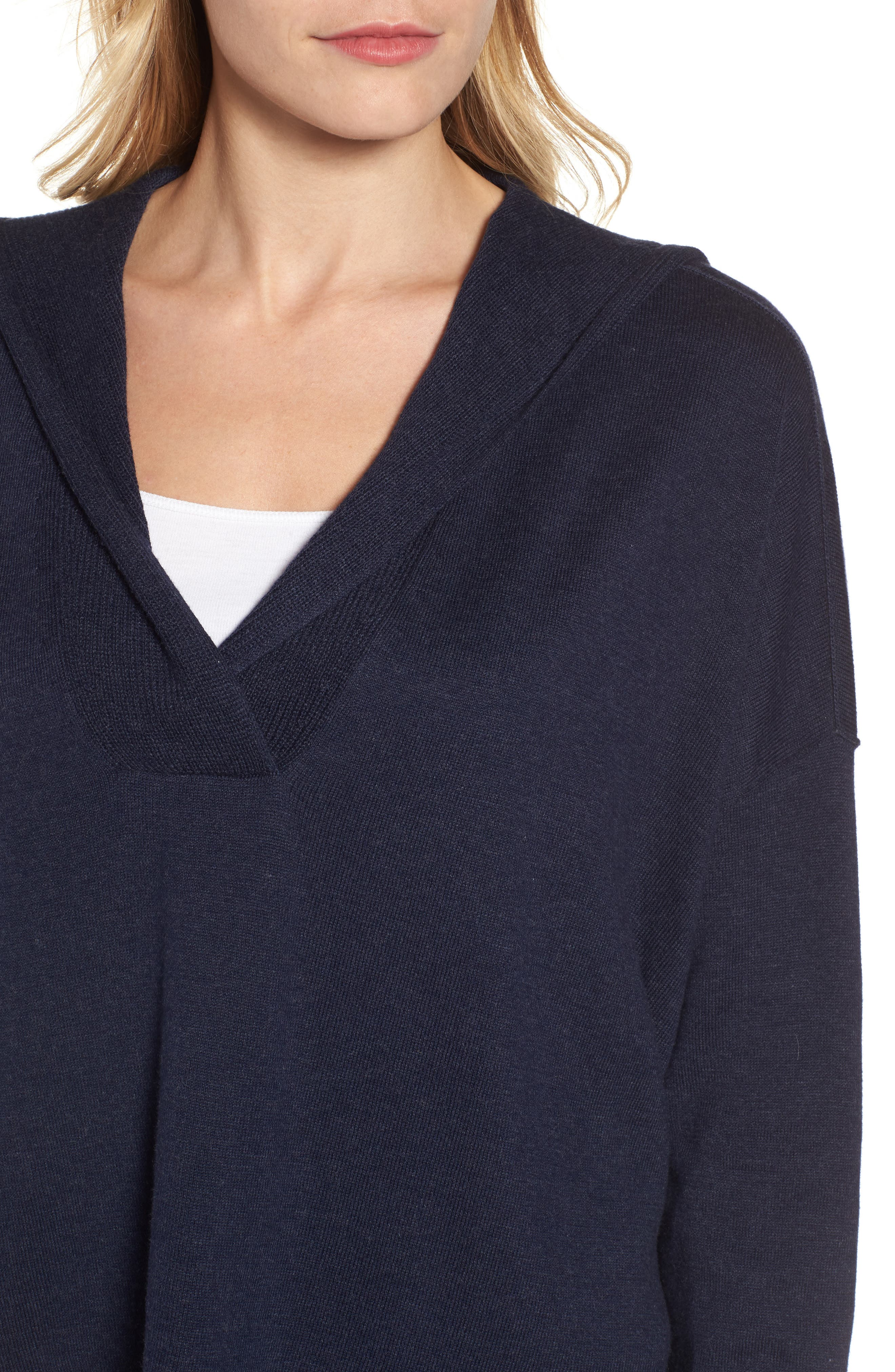 Hooded Organic Cotton Box Sweater,                             Alternate thumbnail 4, color,                             Midnight