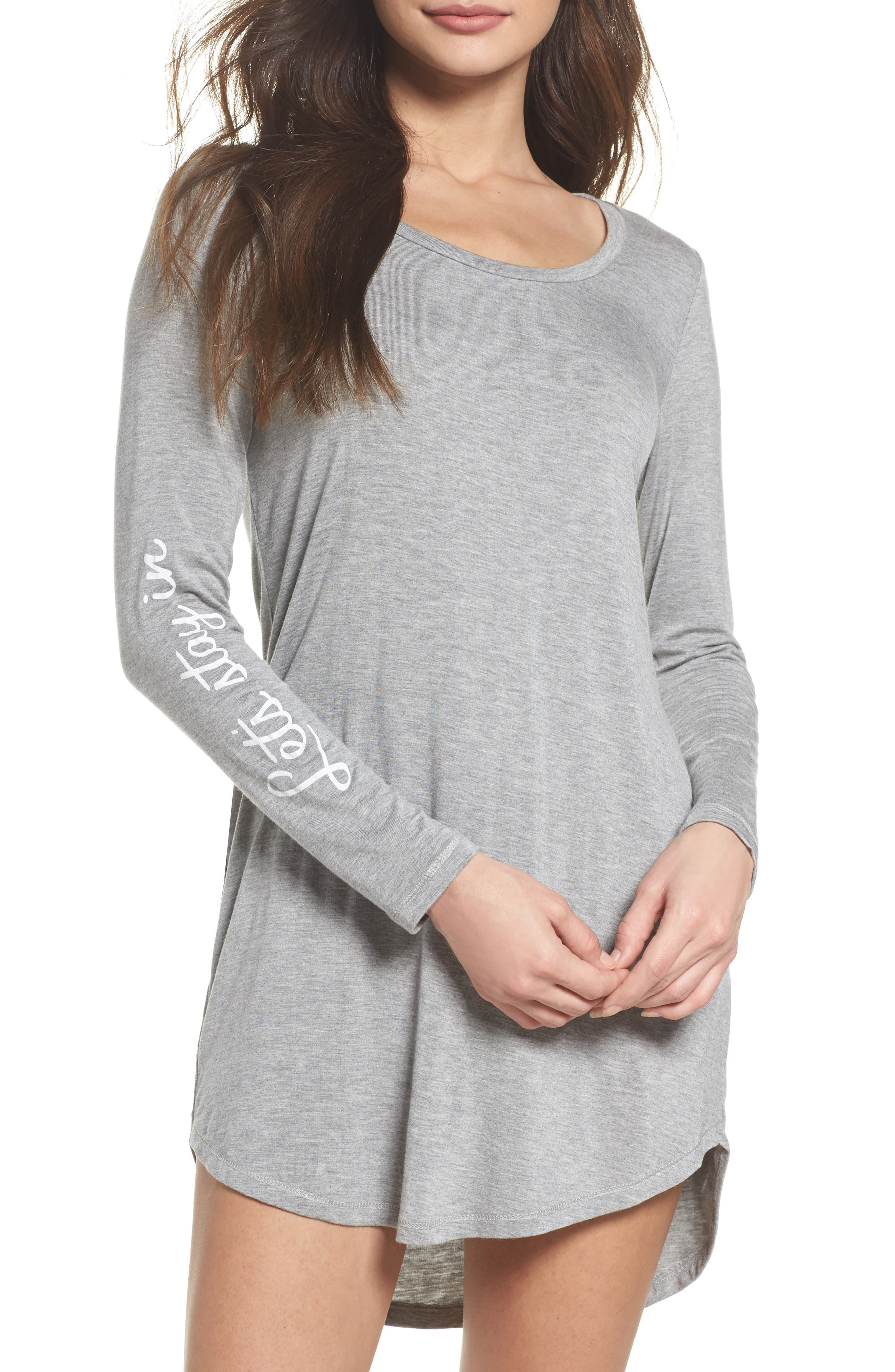 Let's Stay In Sleep Shirt,                         Main,                         color, Light Grey