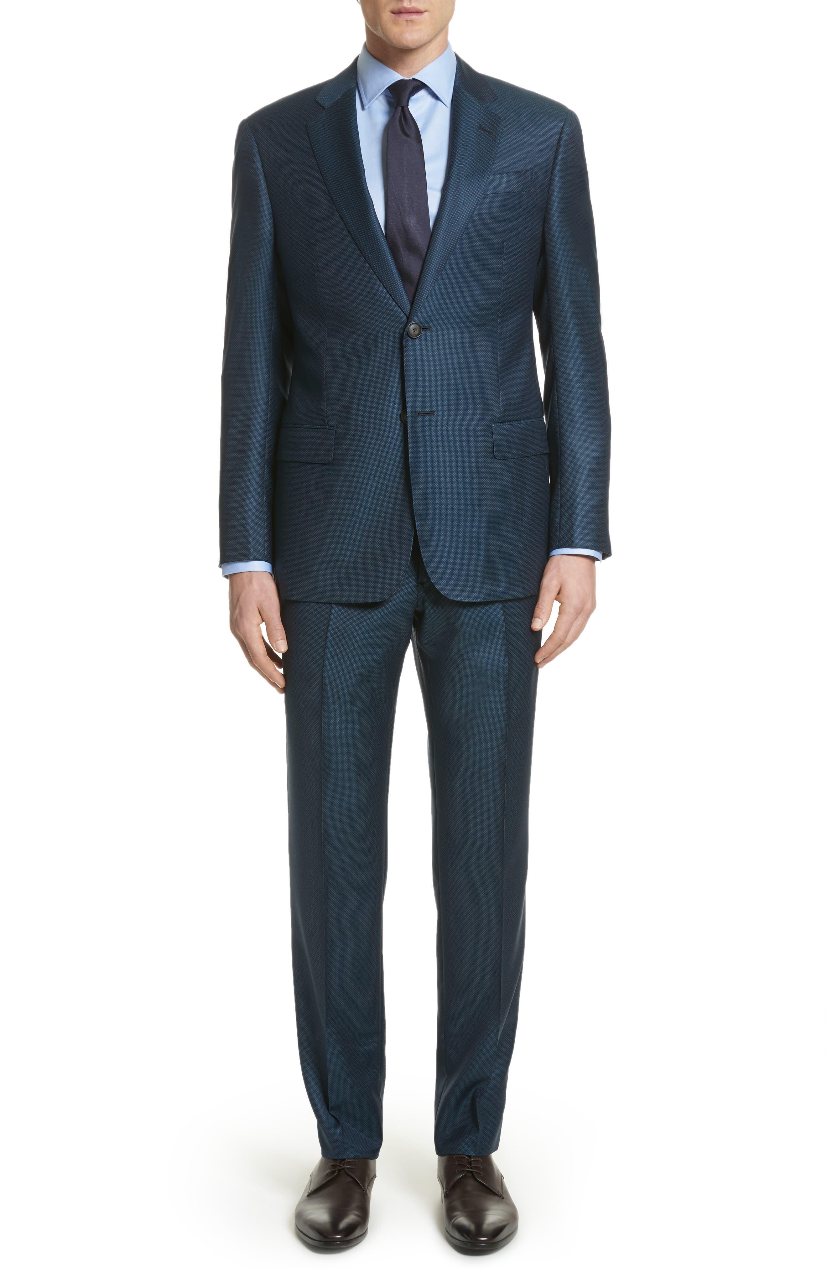 G-Line Trim Fit Solid Wool Suit,                         Main,                         color, Blue