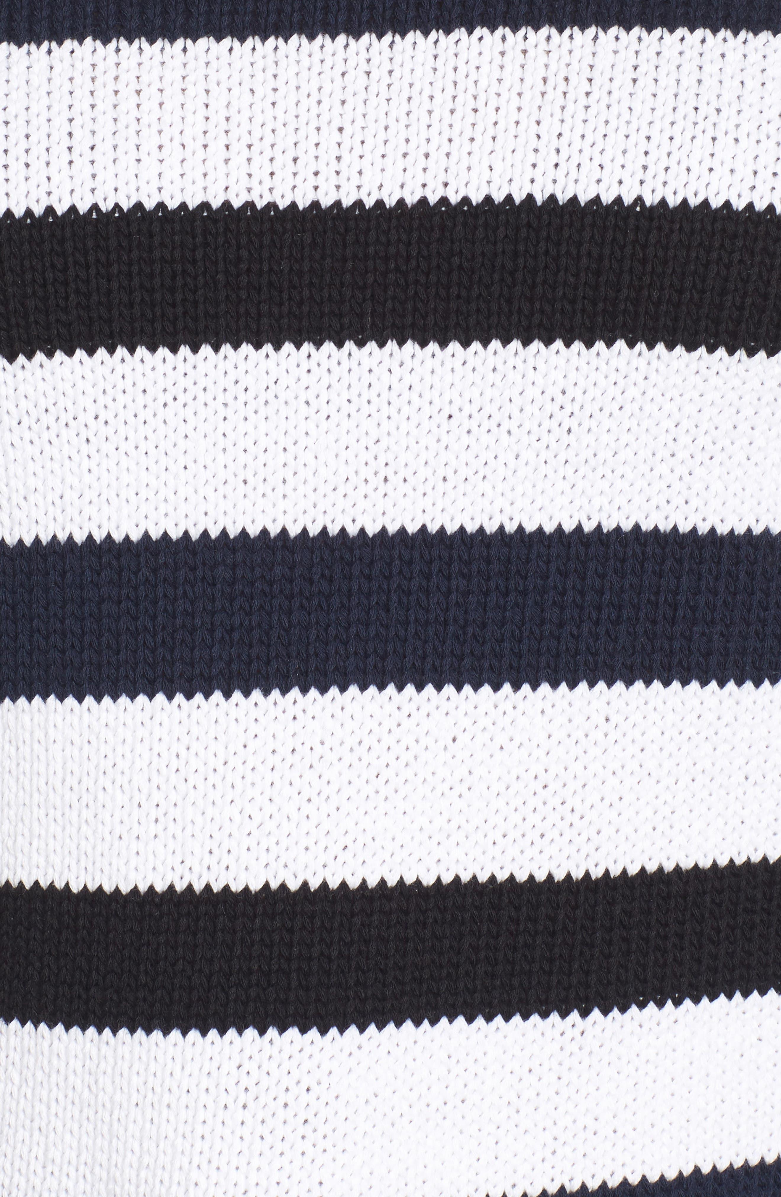 Wide Stripe Crop Sweater,                             Alternate thumbnail 5, color,                             Indigo-White