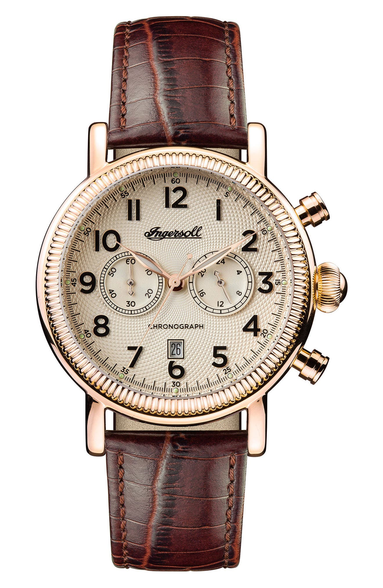 Ingersoll Daniells Chronograph Leather Strap Watch, 44mm,                         Main,                         color, Brown/ Cream/ Rose Gold