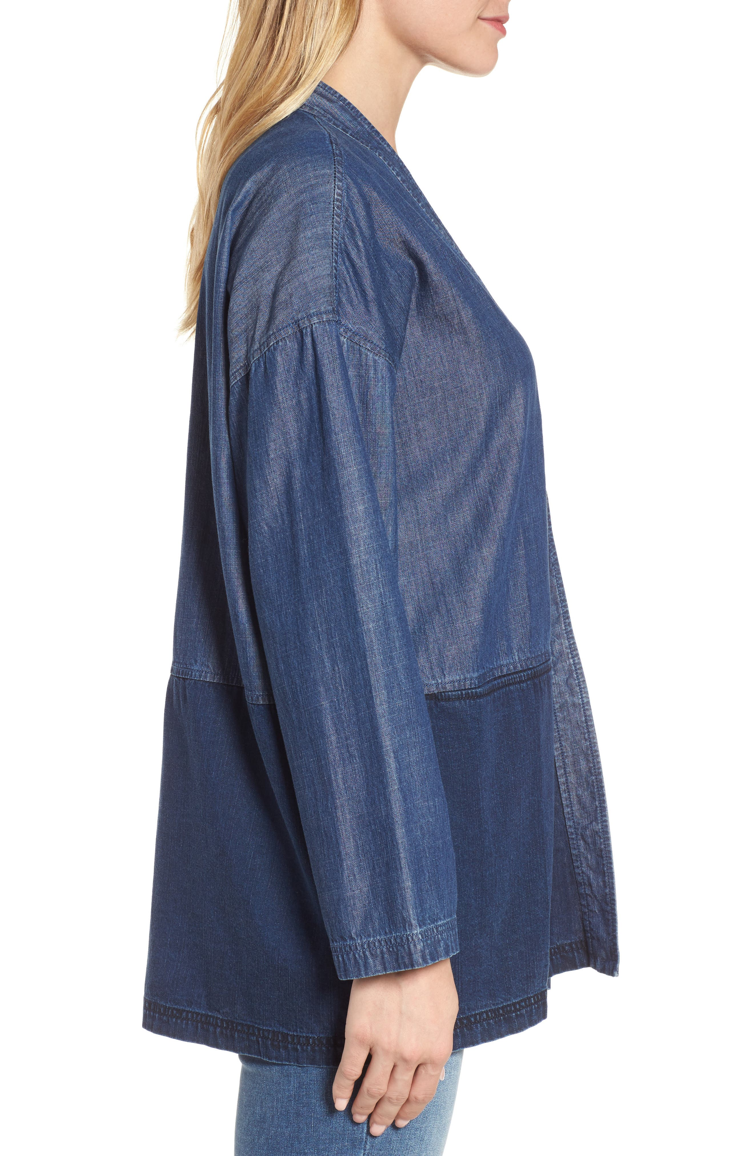 Denim Kimono Jacket,                             Alternate thumbnail 3, color,                             Midnight