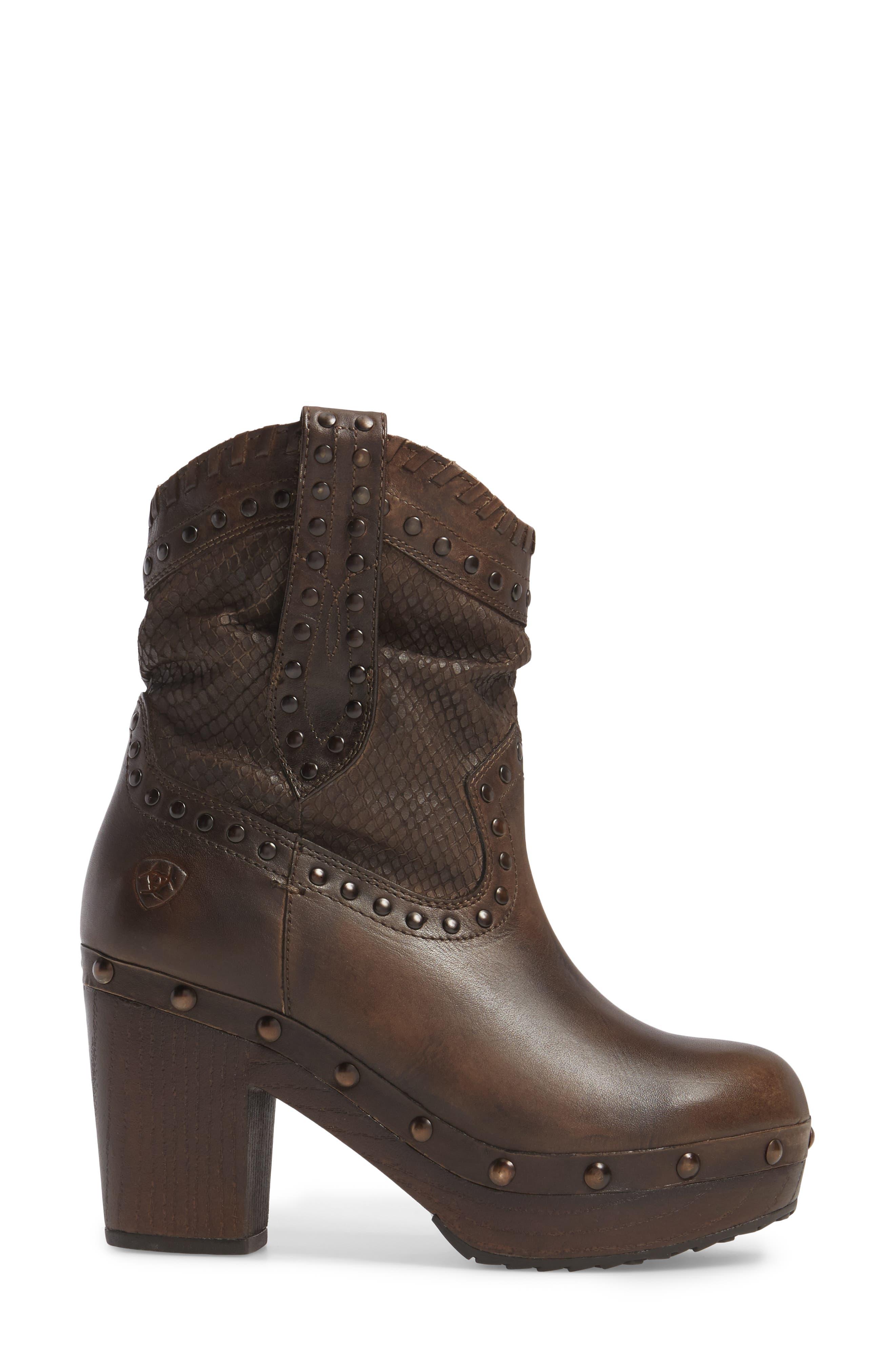Memphis Platform Boot,                             Alternate thumbnail 3, color,                             Distressed Brown Leather