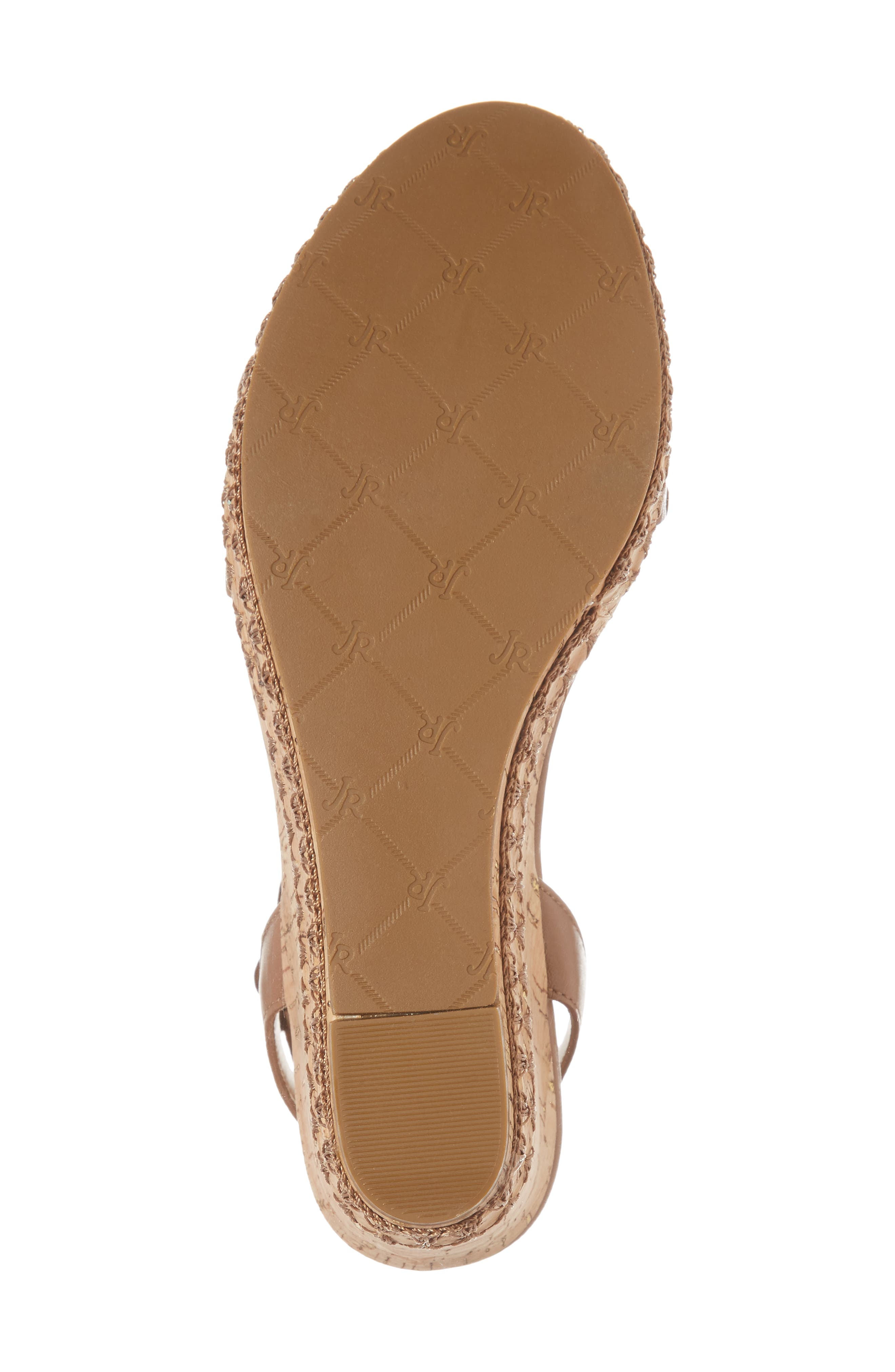Lennon Platform Wedge Sandal,                             Alternate thumbnail 6, color,                             Cognac Leather