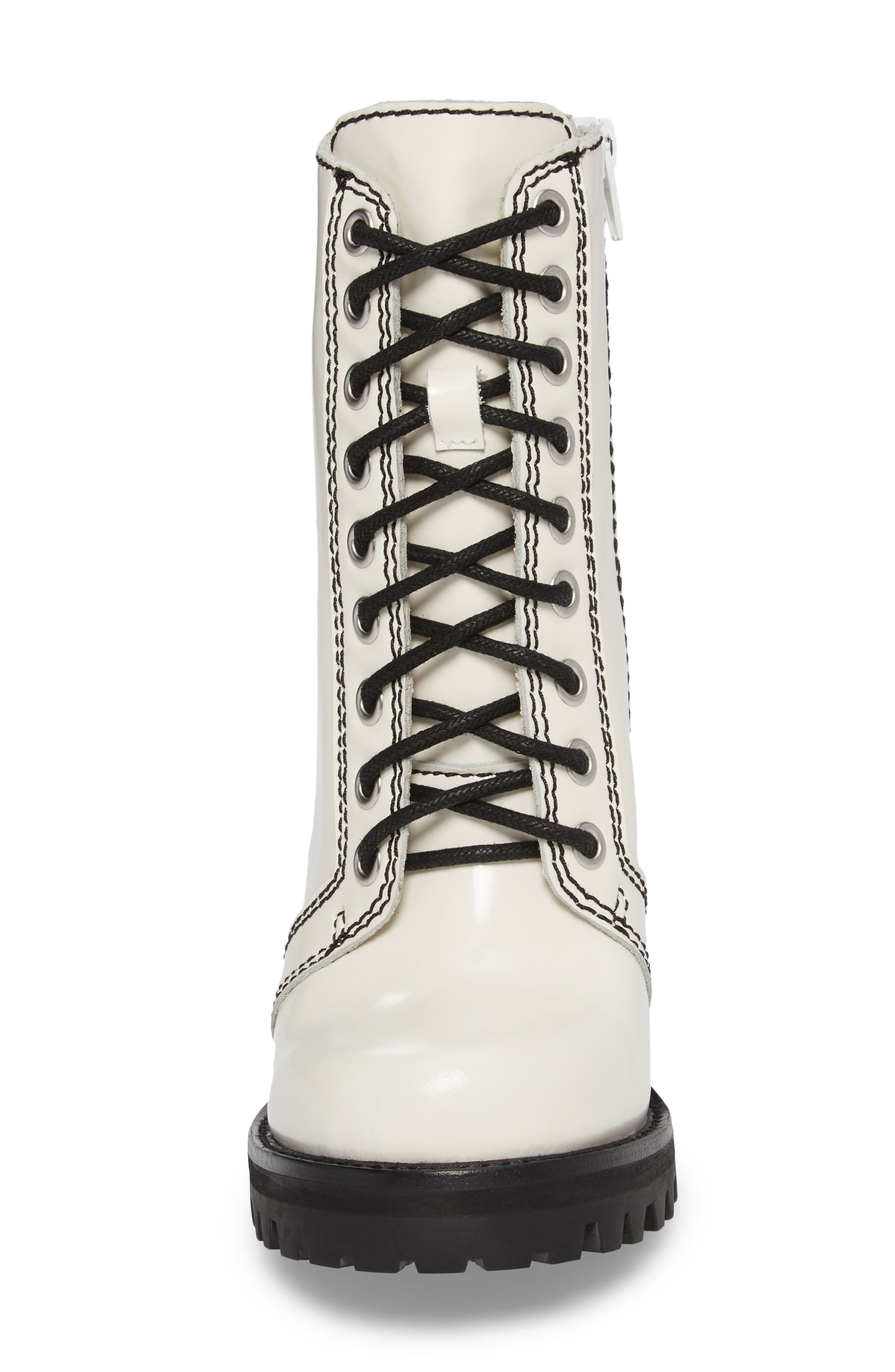 'Legion' High Heel Boot,                             Alternate thumbnail 4, color,                             White Box Black