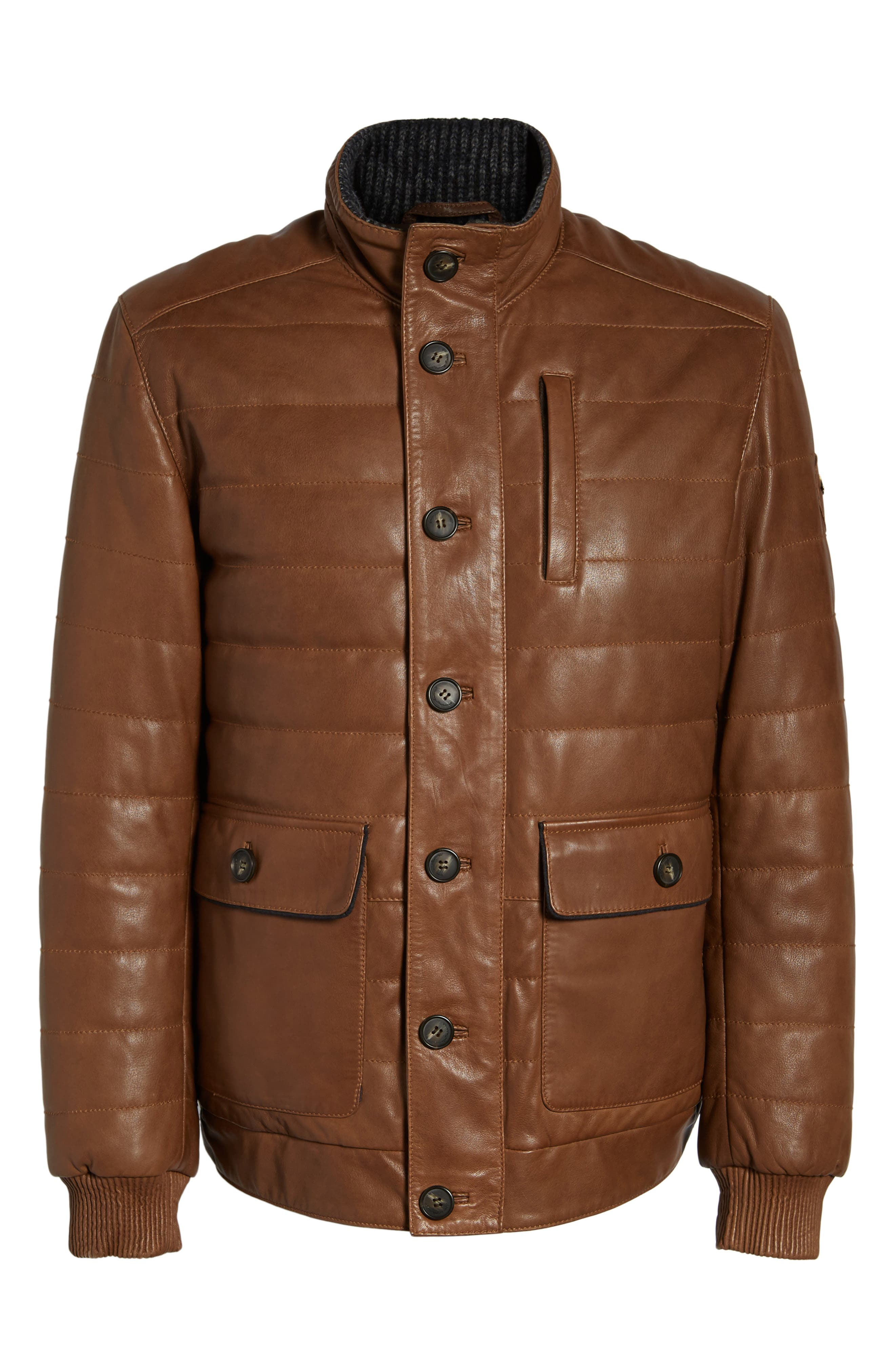 Snowside Leather Bomber Jacket,                             Alternate thumbnail 6, color,                             Brown Enough