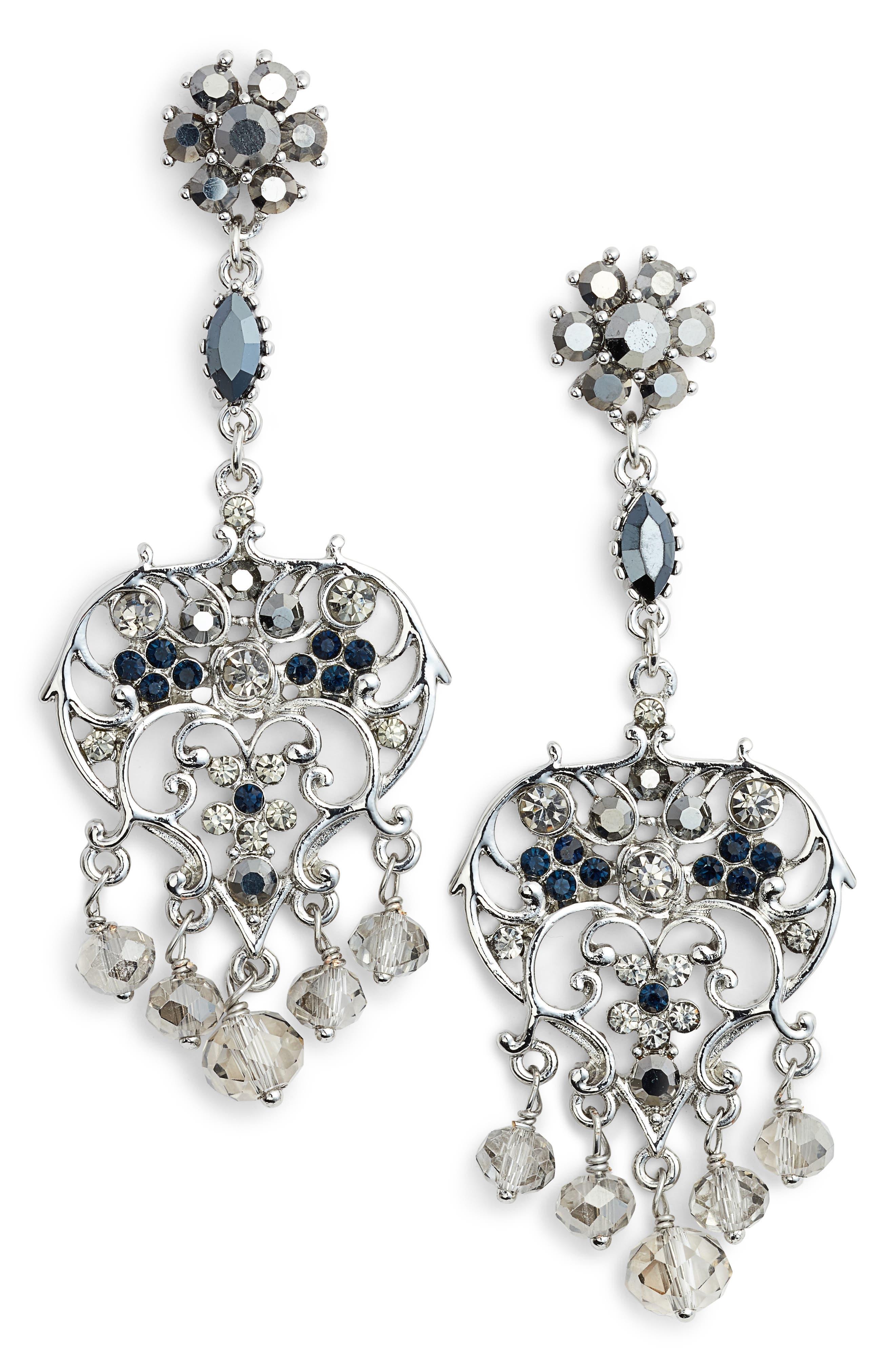 Vintage Chandelier Earrings,                         Main,                         color, Silver