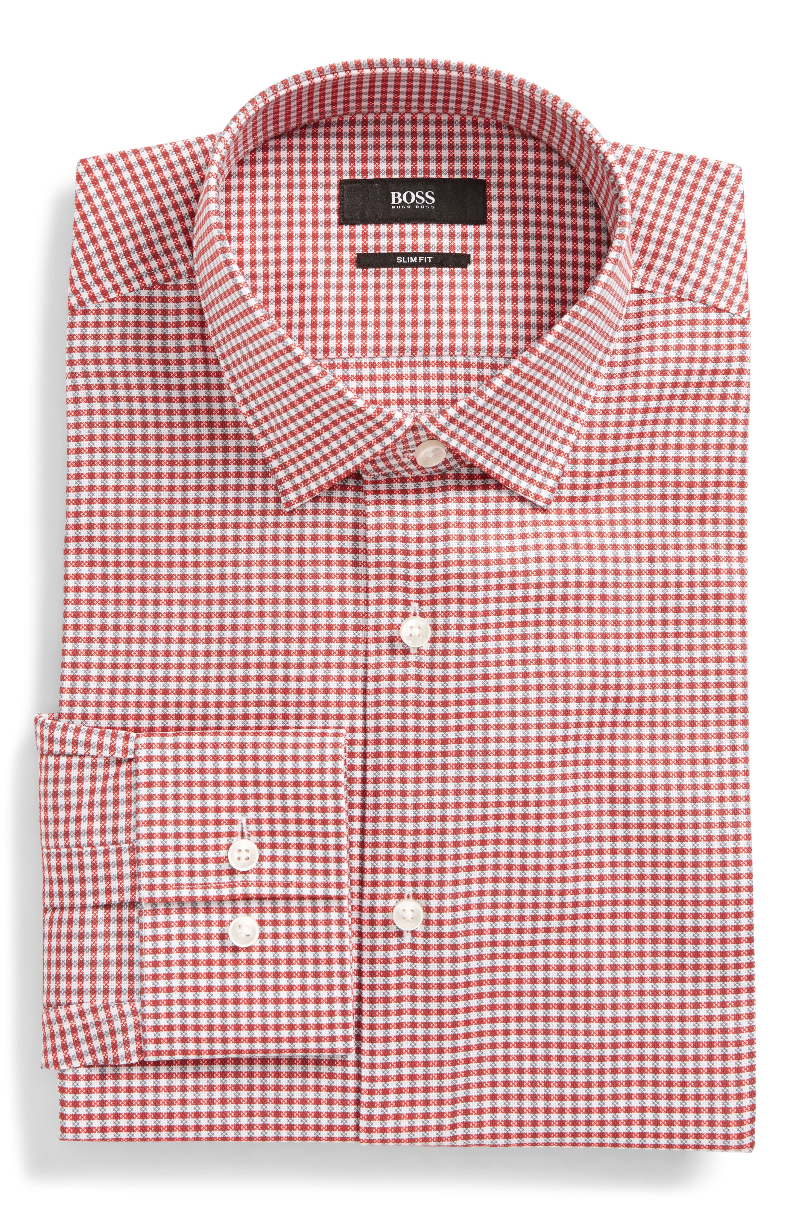 Jenno Slim Fit Easy Iron Plaid Dress Shirt,                             Main thumbnail 1, color,                             Red