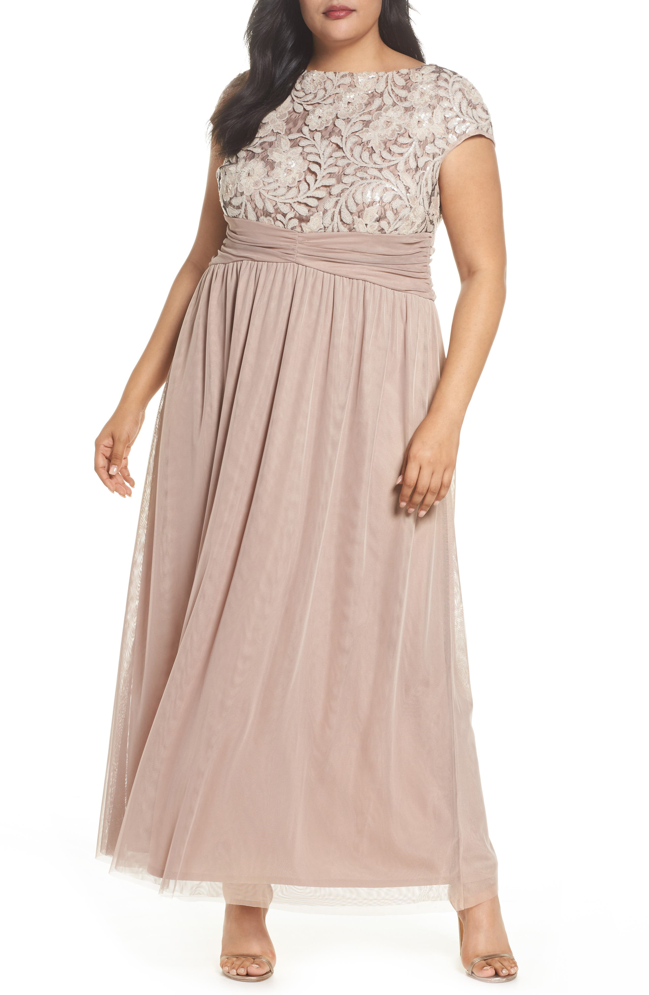 Embellished Cap Sleeve Gown,                             Main thumbnail 1, color,                             Champagne