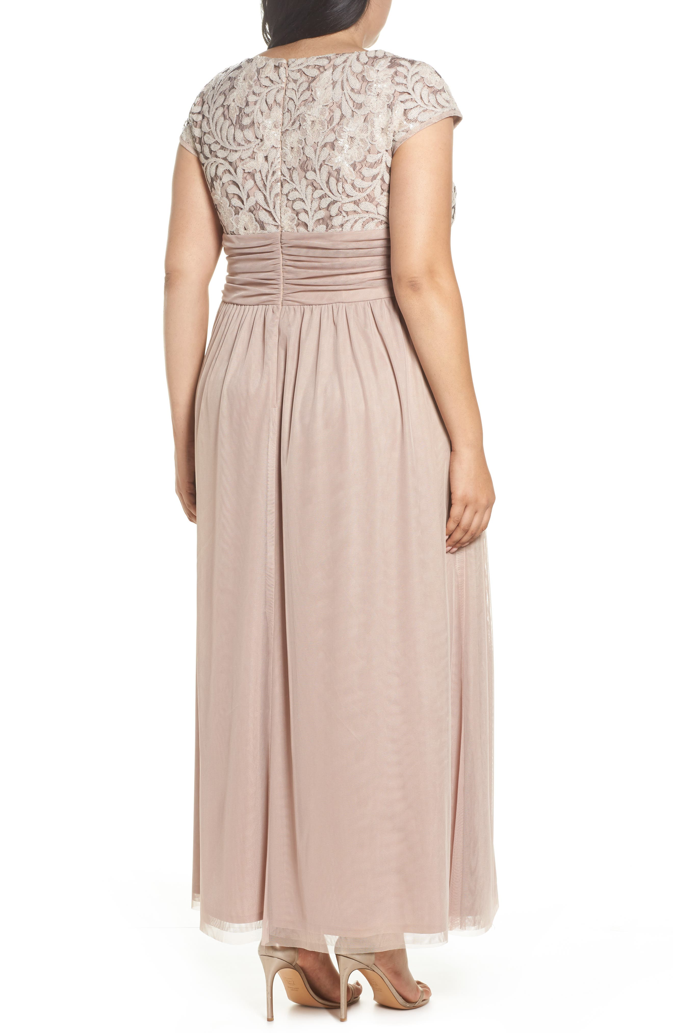 Embellished Cap Sleeve Gown,                             Alternate thumbnail 2, color,                             Champagne