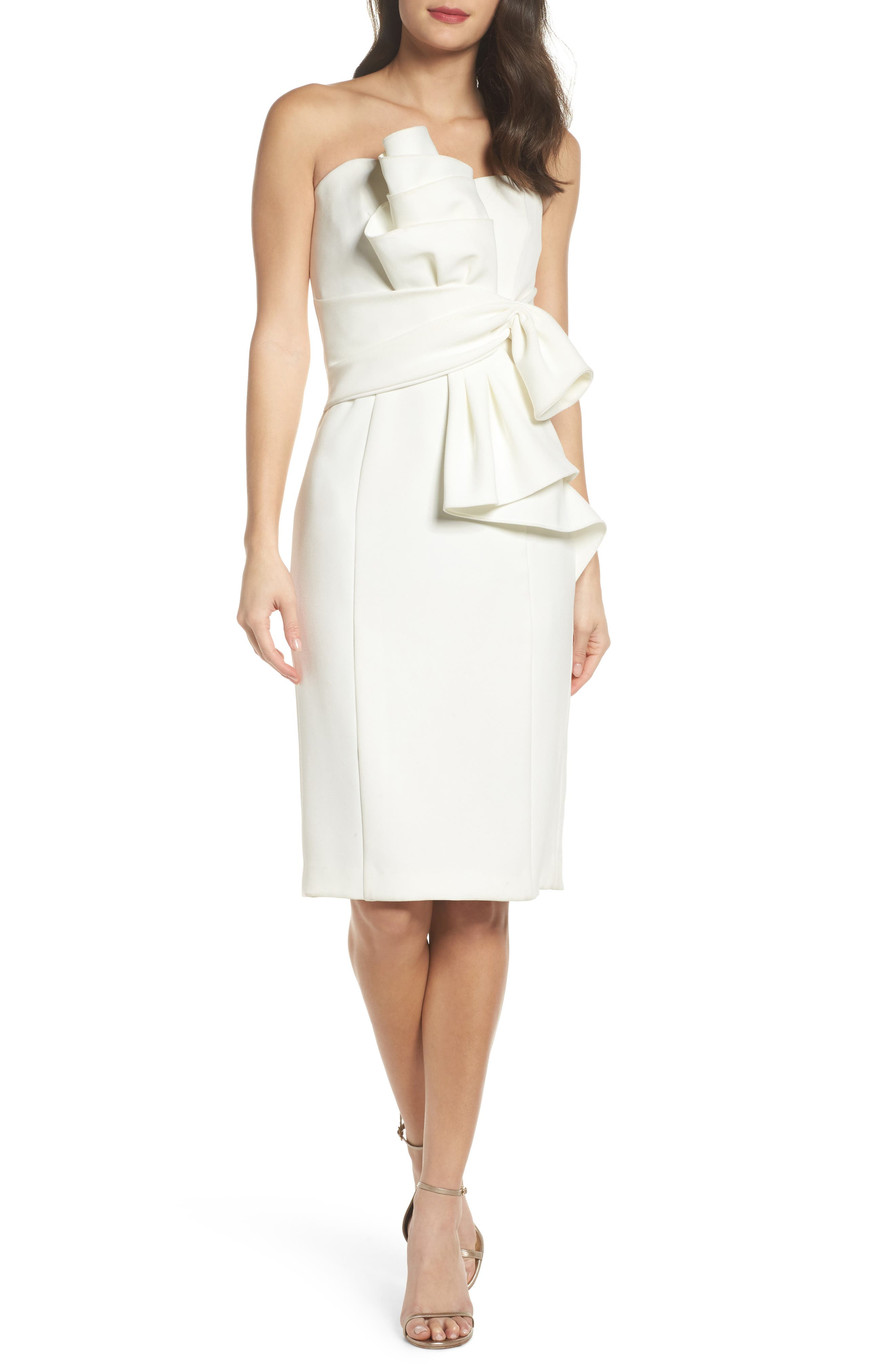 Sculpture Flower Cocktail Dress,                         Main,                         color, Ivory