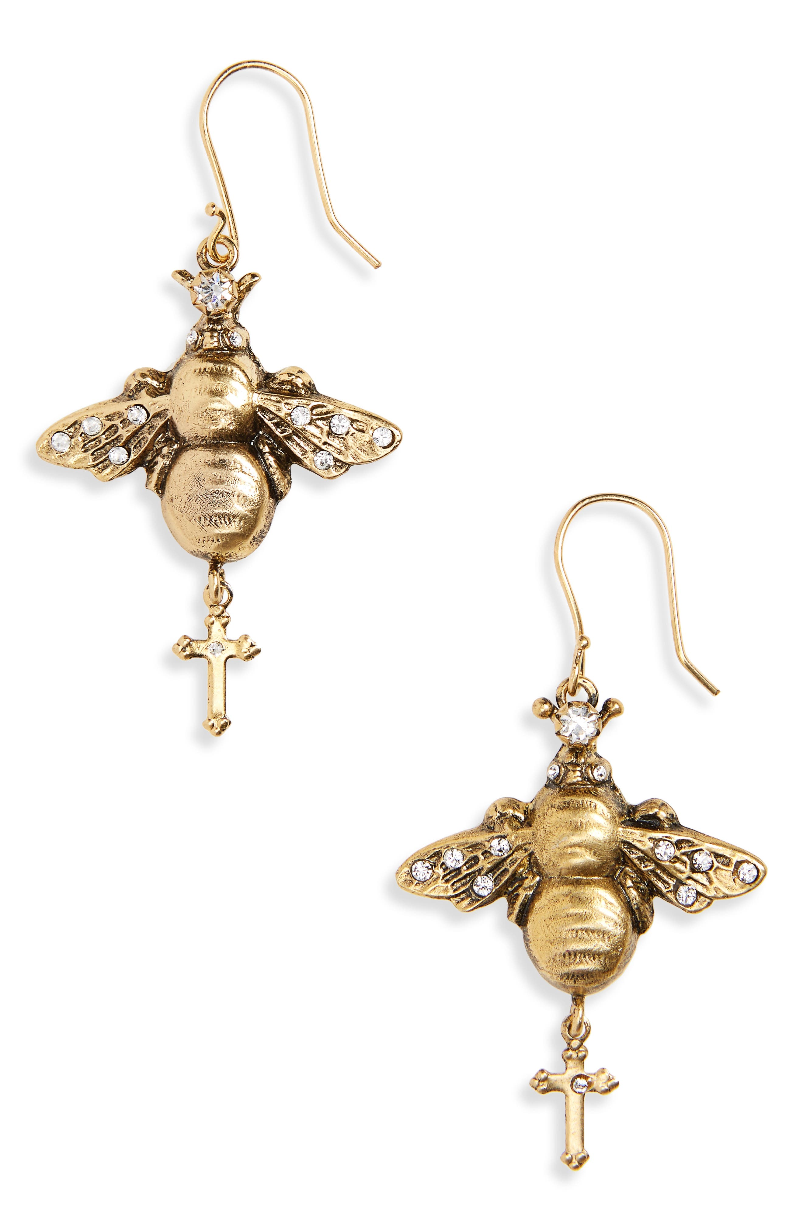 Bee Mine Earrings,                         Main,                         color, Gold