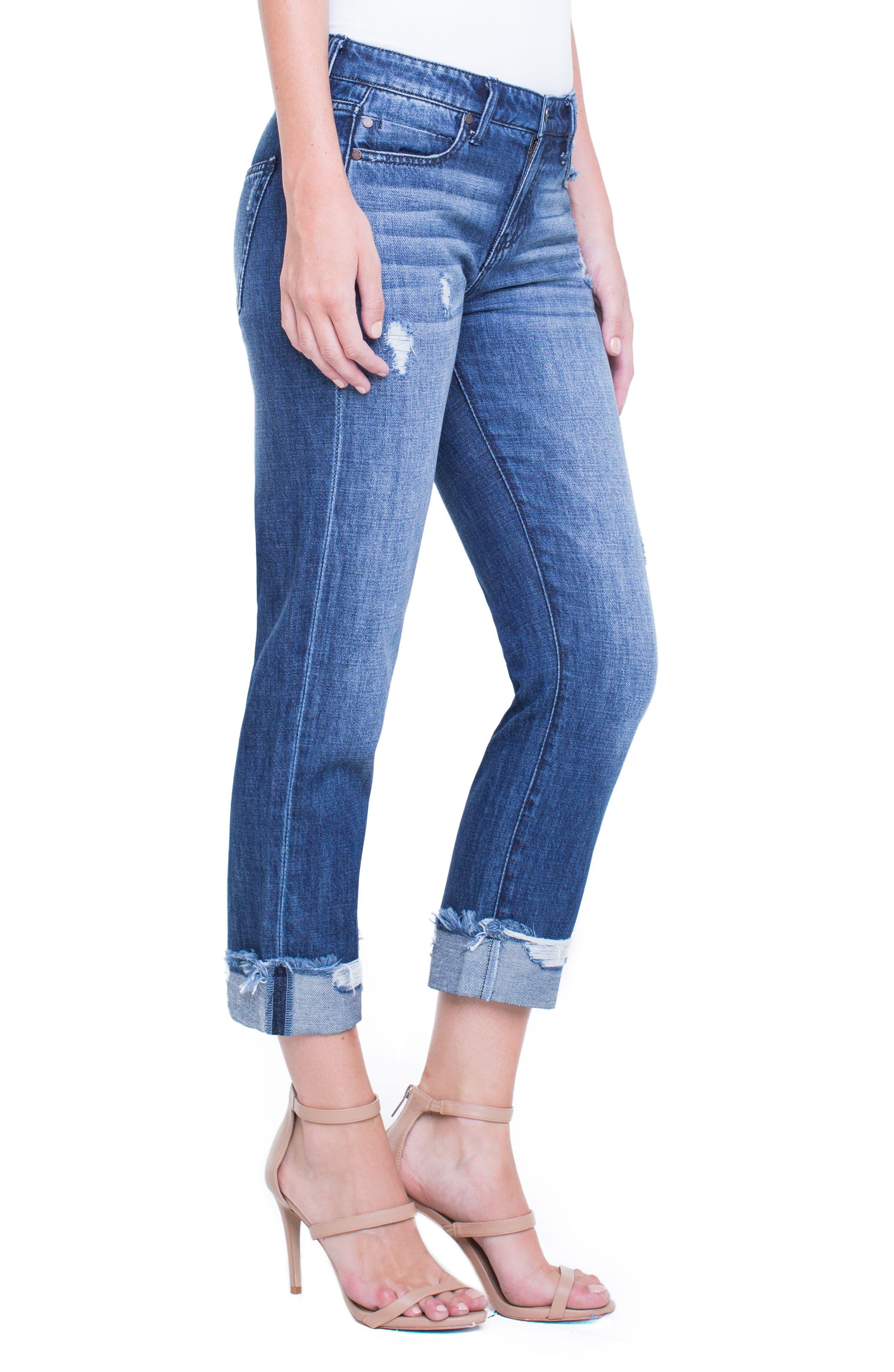 Kennedy Distressed Raw Hem Crop Boyfriend Jeans,                             Alternate thumbnail 3, color,                             Destruct