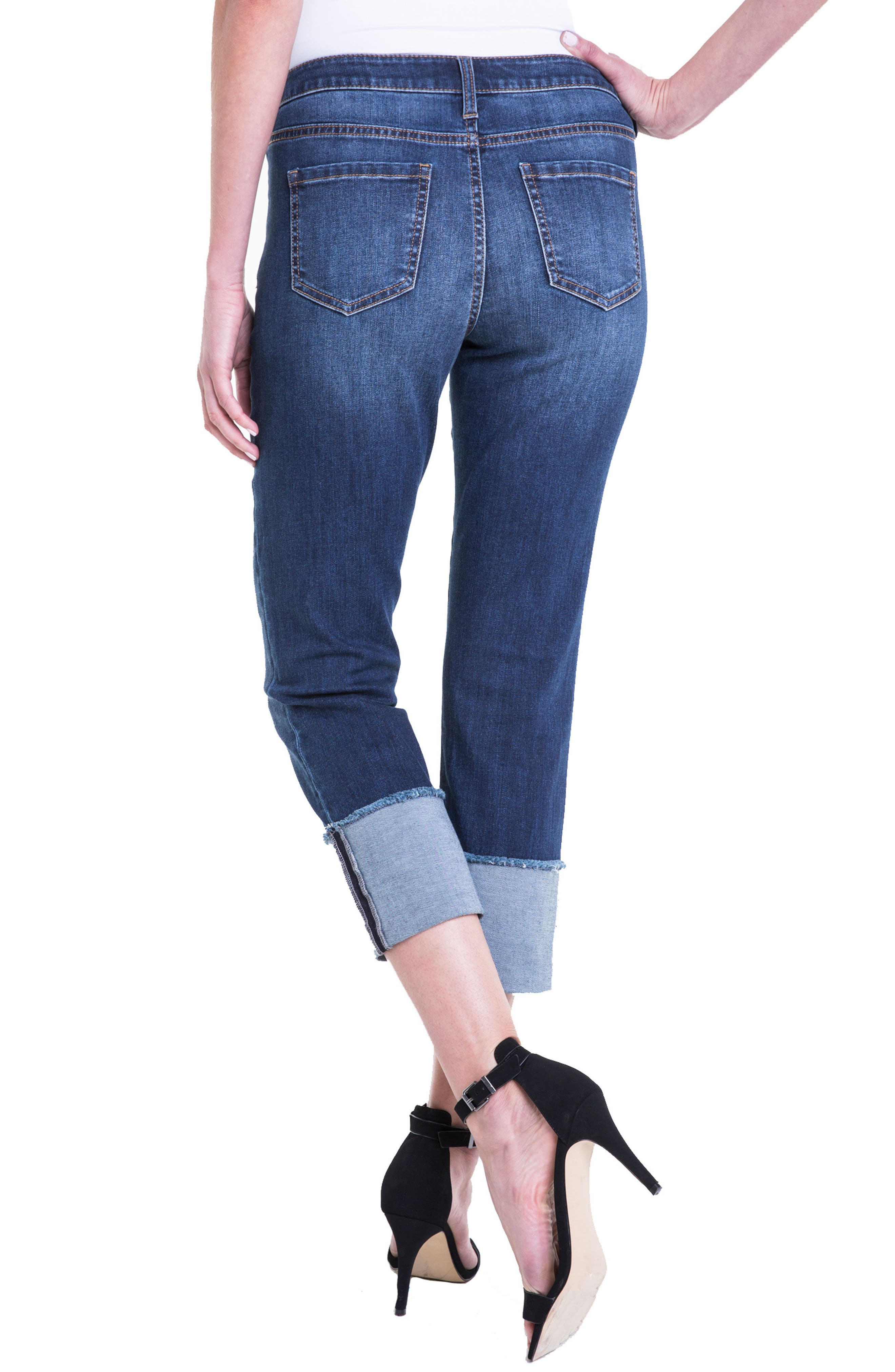 Morgan Wide Cuff Capri Jeans,                             Alternate thumbnail 3, color,                             Chapman Wash