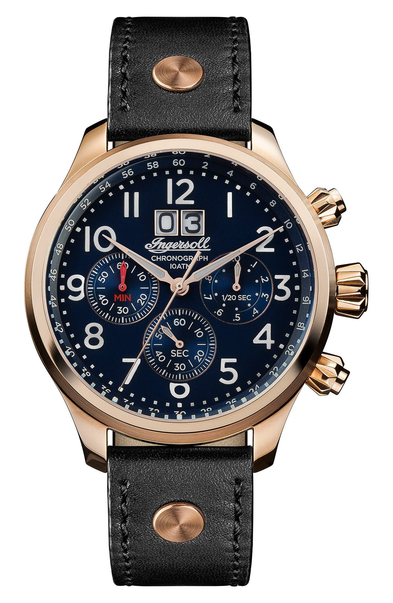 Ingersoll Delta Chronograph Leather Strap Watch, 40mm,                         Main,                         color, Black/ Blue/ Rose Gold
