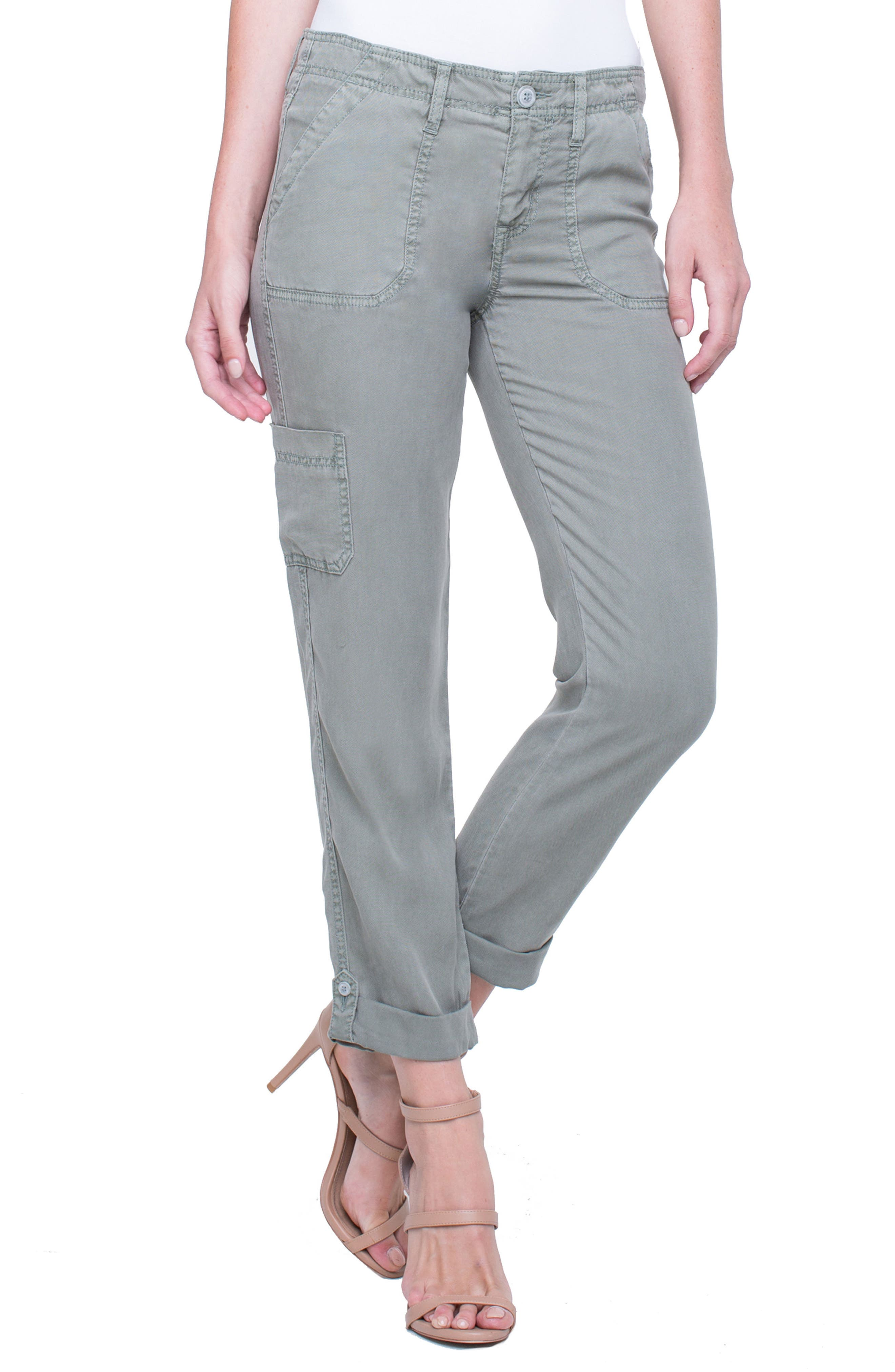 Cargo Rolled Cuff Pants,                         Main,                         color, Shadow Green