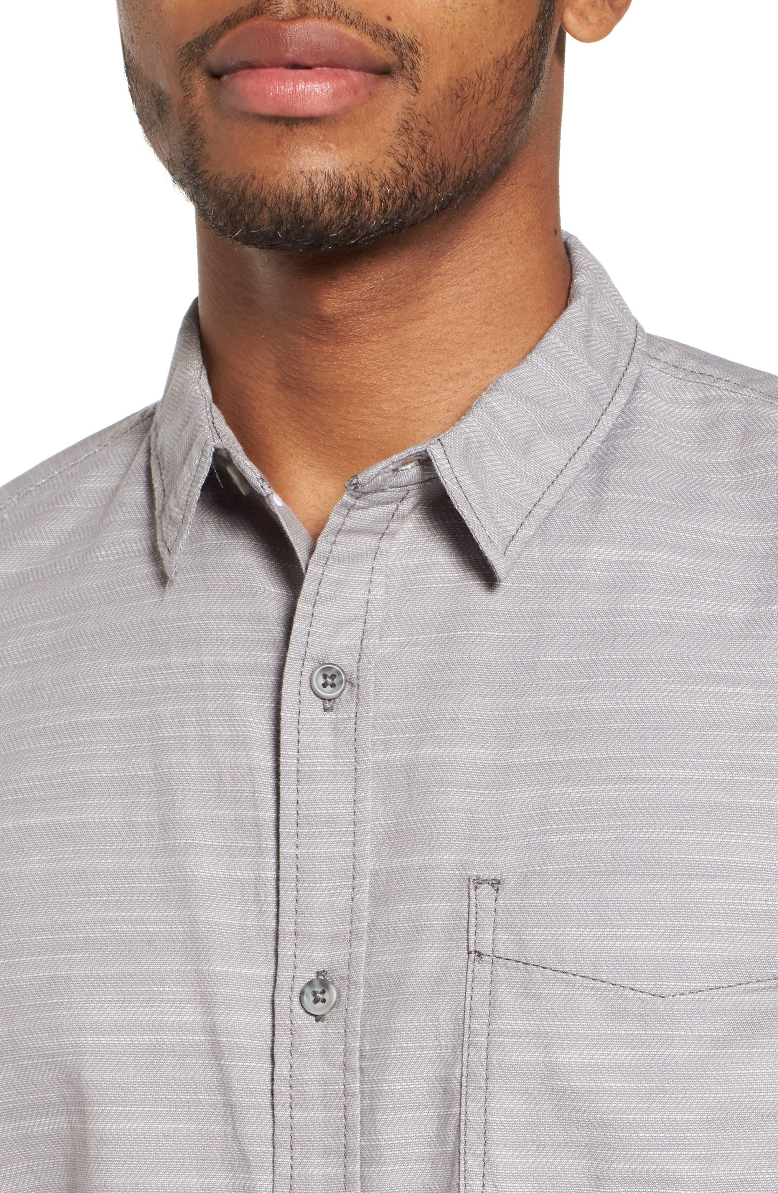 Herringbone Chambray Shirt,                             Alternate thumbnail 4, color,                             Grey Filigree Herringbone