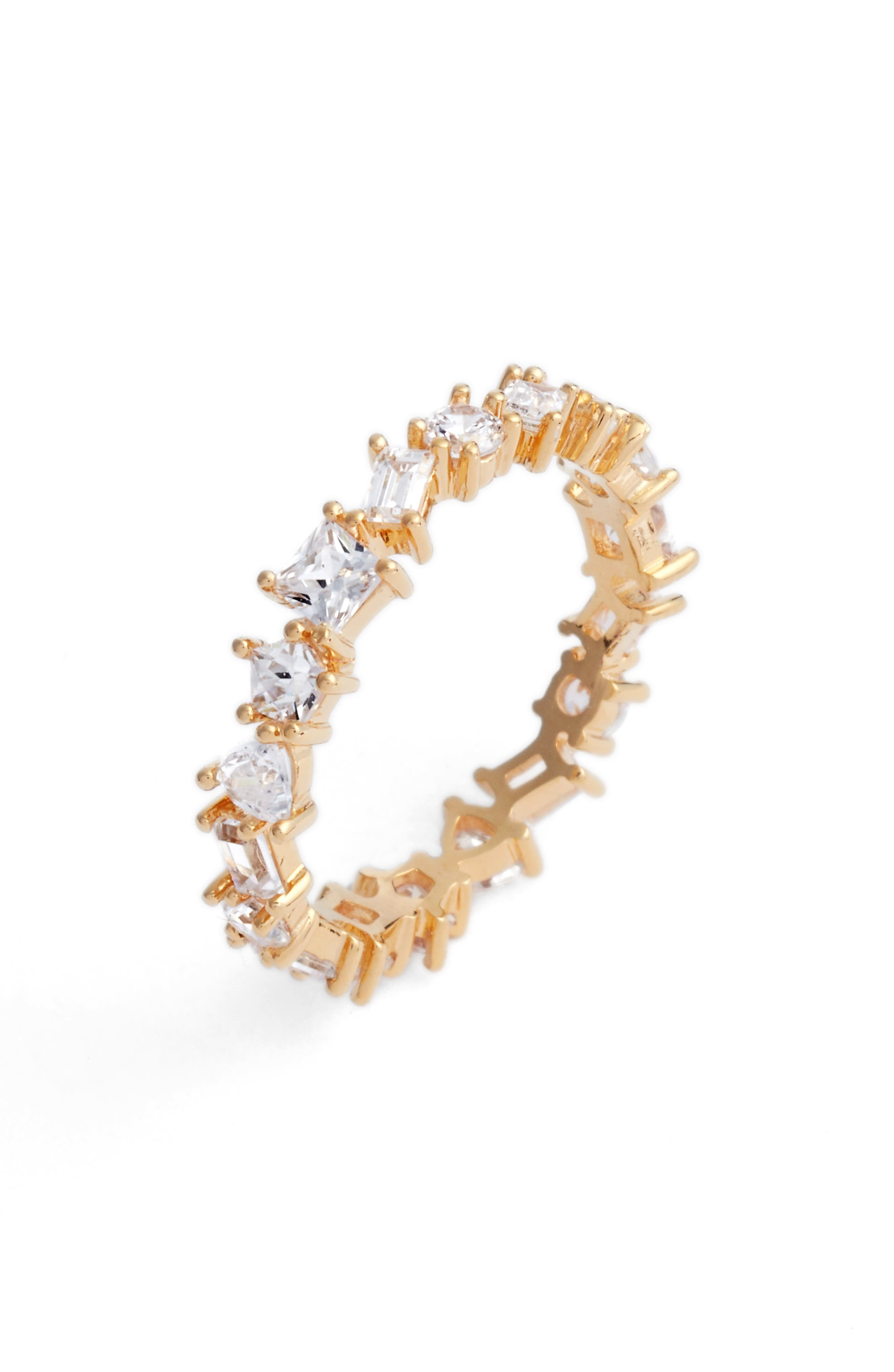 Cubic Zirconia Eternity Ring,                         Main,                         color, Gold