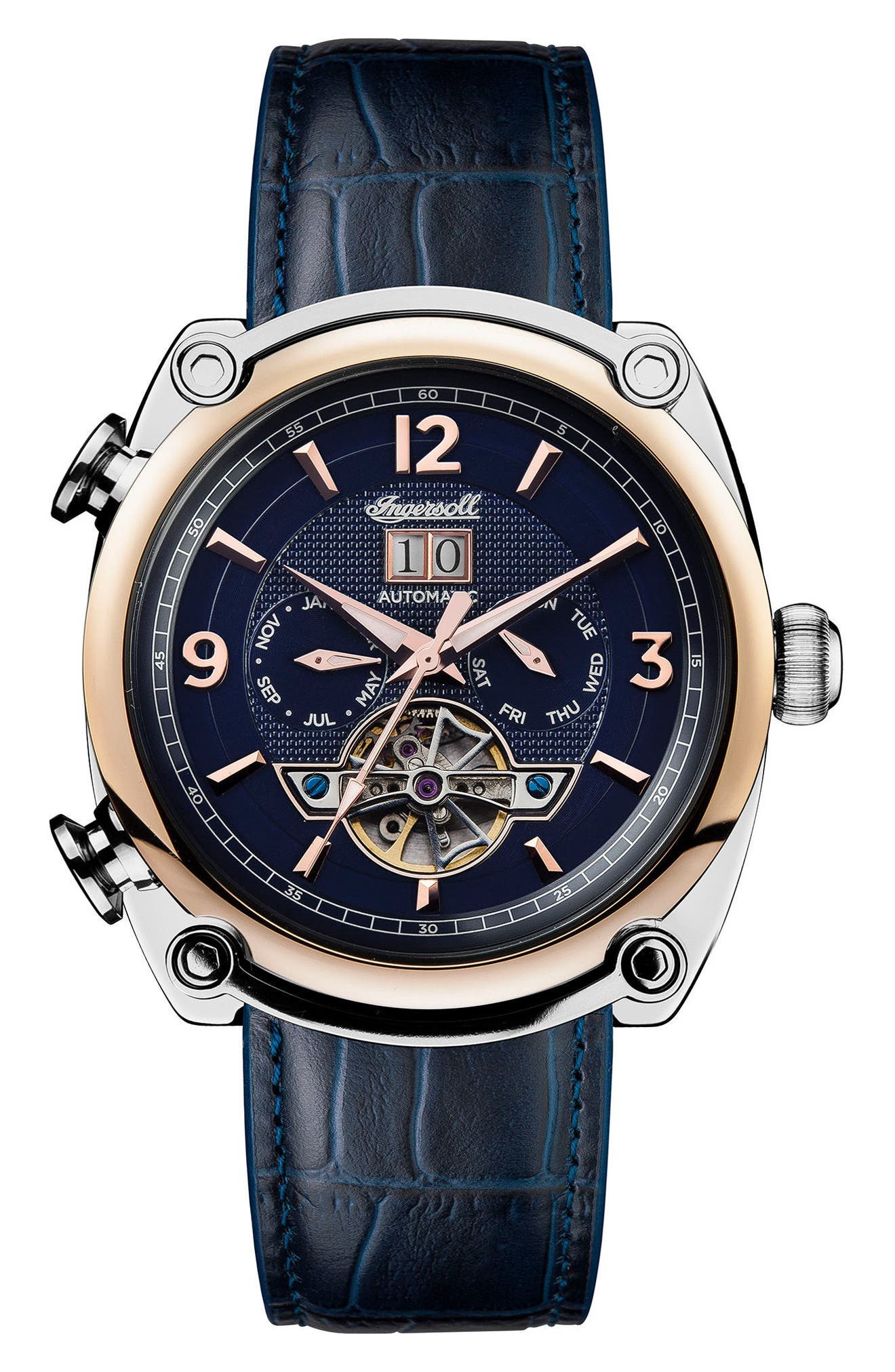 Ingersoll Michigan Automatic Multifunction Leather Strap Watch, 45mm,                         Main,                         color, Blue/ Rose Gold/ Silver