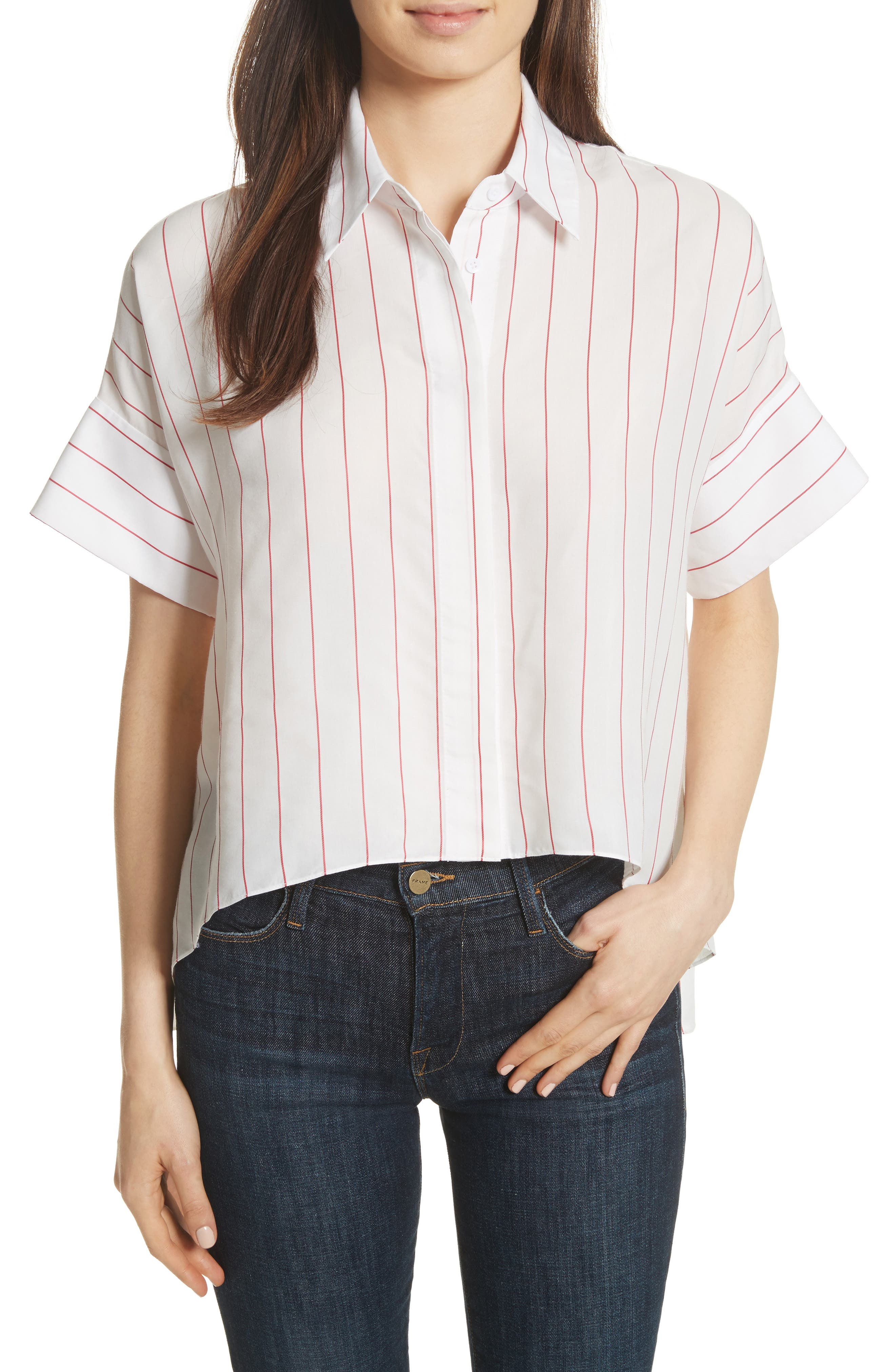 Edyth High/Low Button Down Shirt,                         Main,                         color, White/ Red