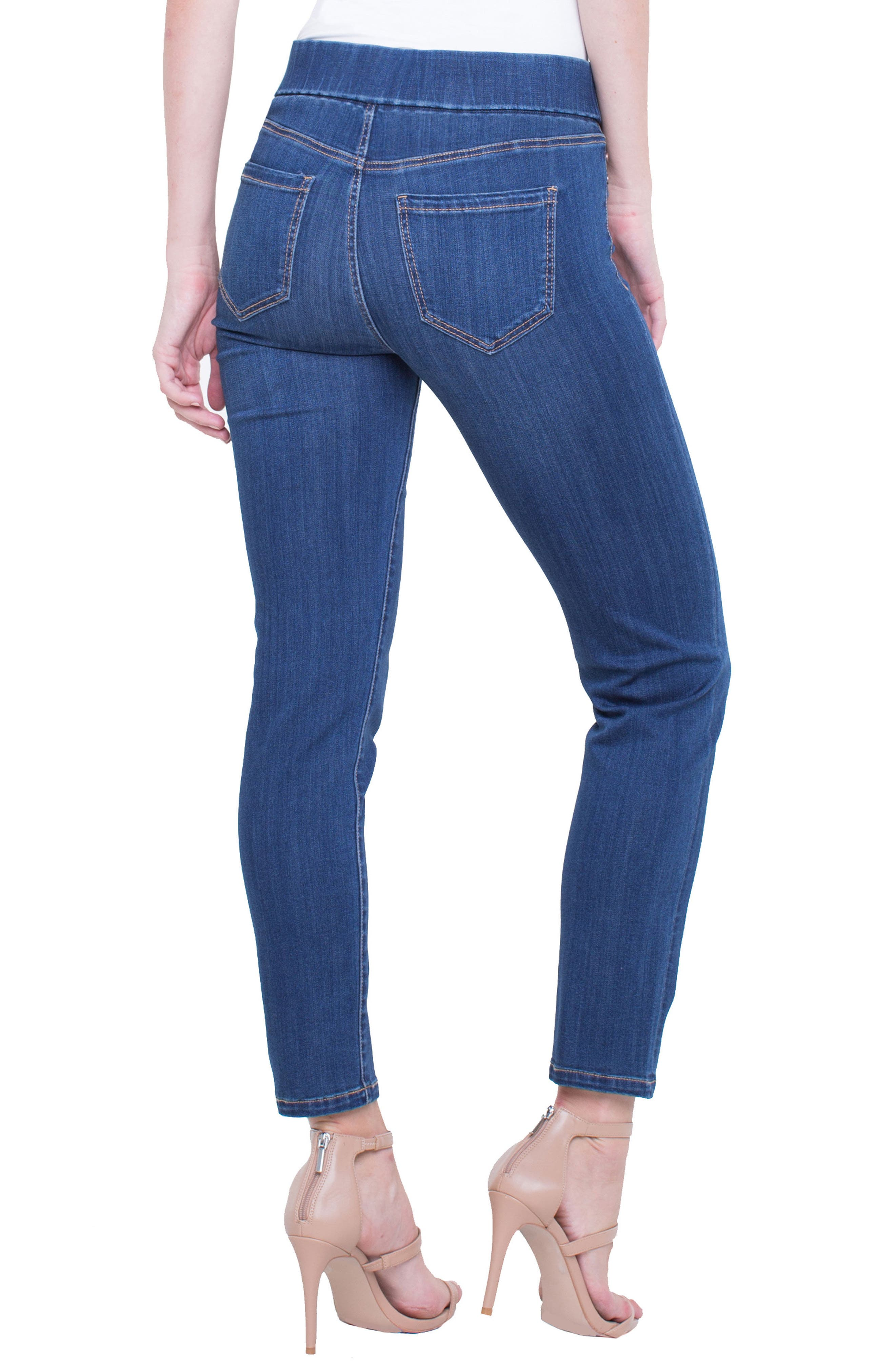 Meridith Pull-On Slim Ankle Jeans,                             Alternate thumbnail 2, color,                             Elysian Dark