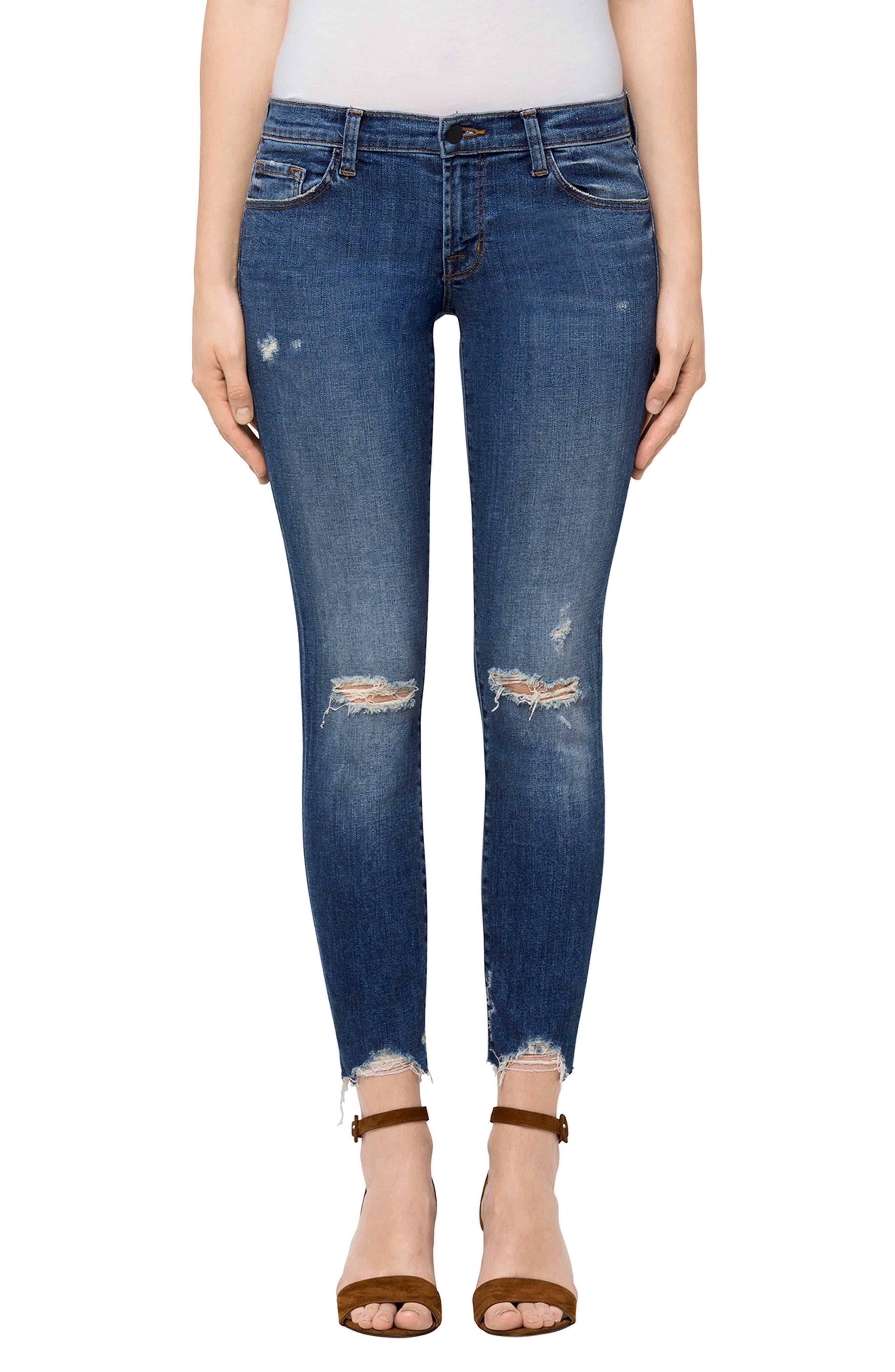 Alternate Image 1 Selected - J Brand 9326 Low Rise Crop Skinny Jeans (Revoke Destruct)